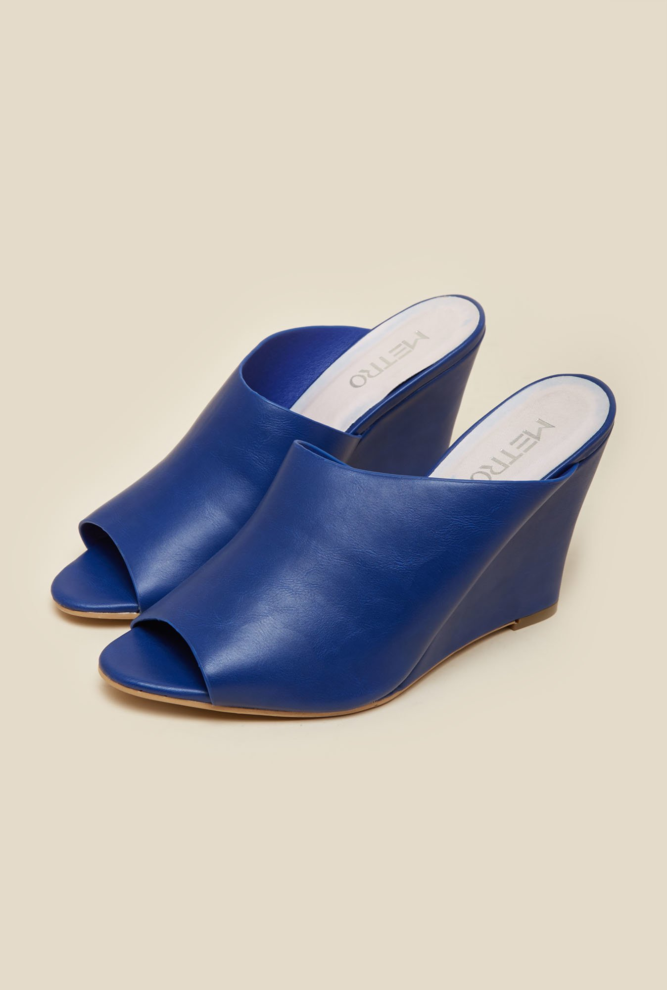 Metro Navy Mule Wedges
