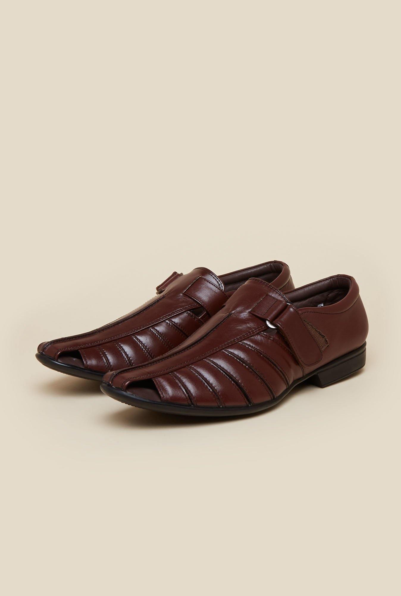 Metro Maroon Leather Fisherman Sandals