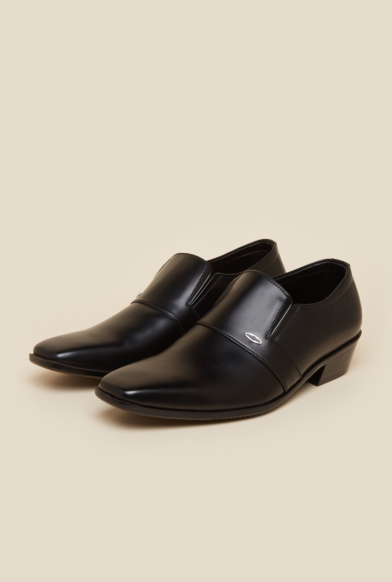 Metro Black Leather Formal Slip-Ons