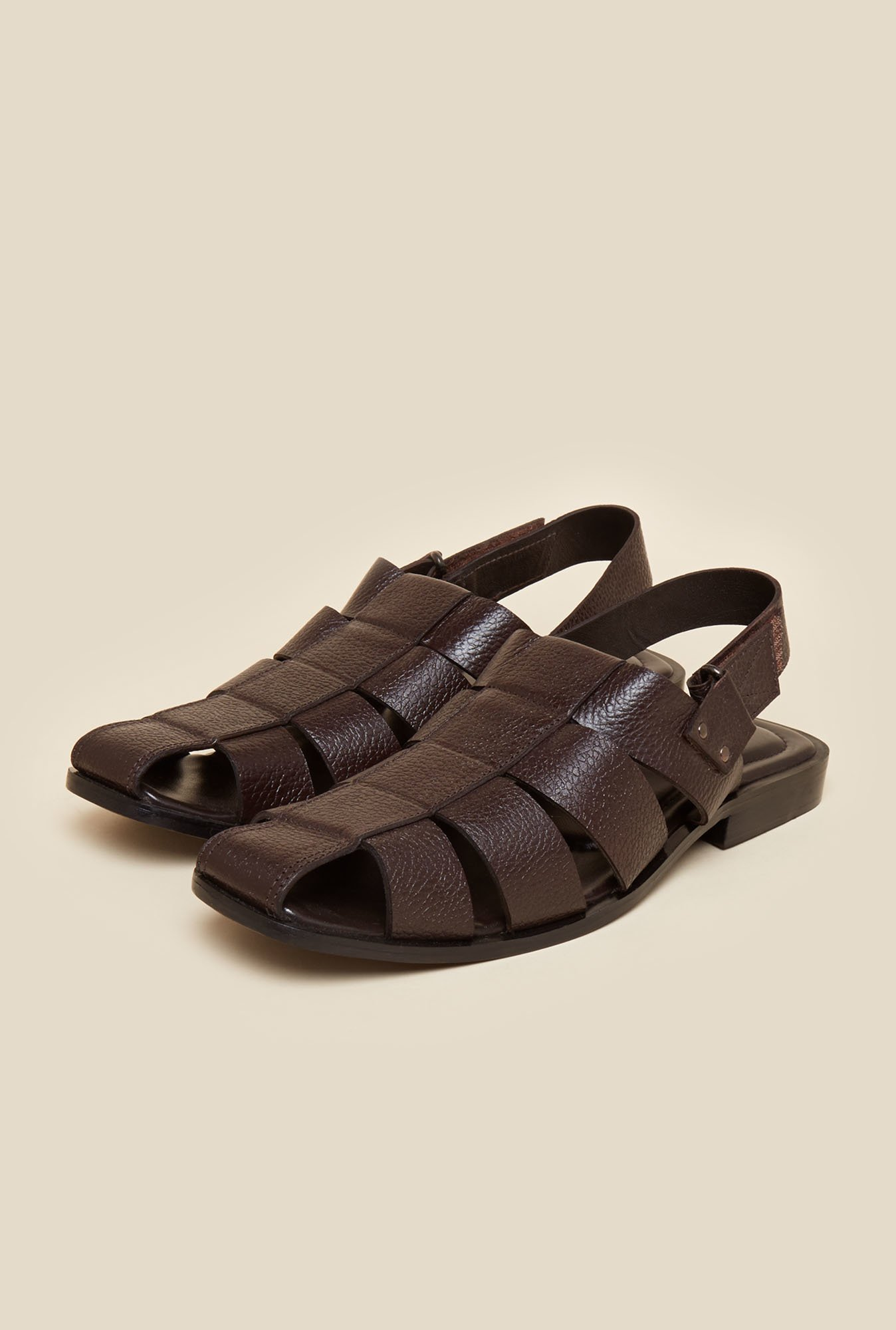 Metro Brown Leather Back Strap Sandals