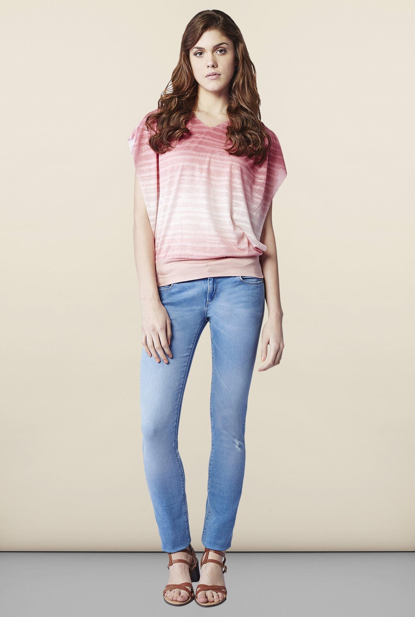 AND Pink Striped Regular Fit Top