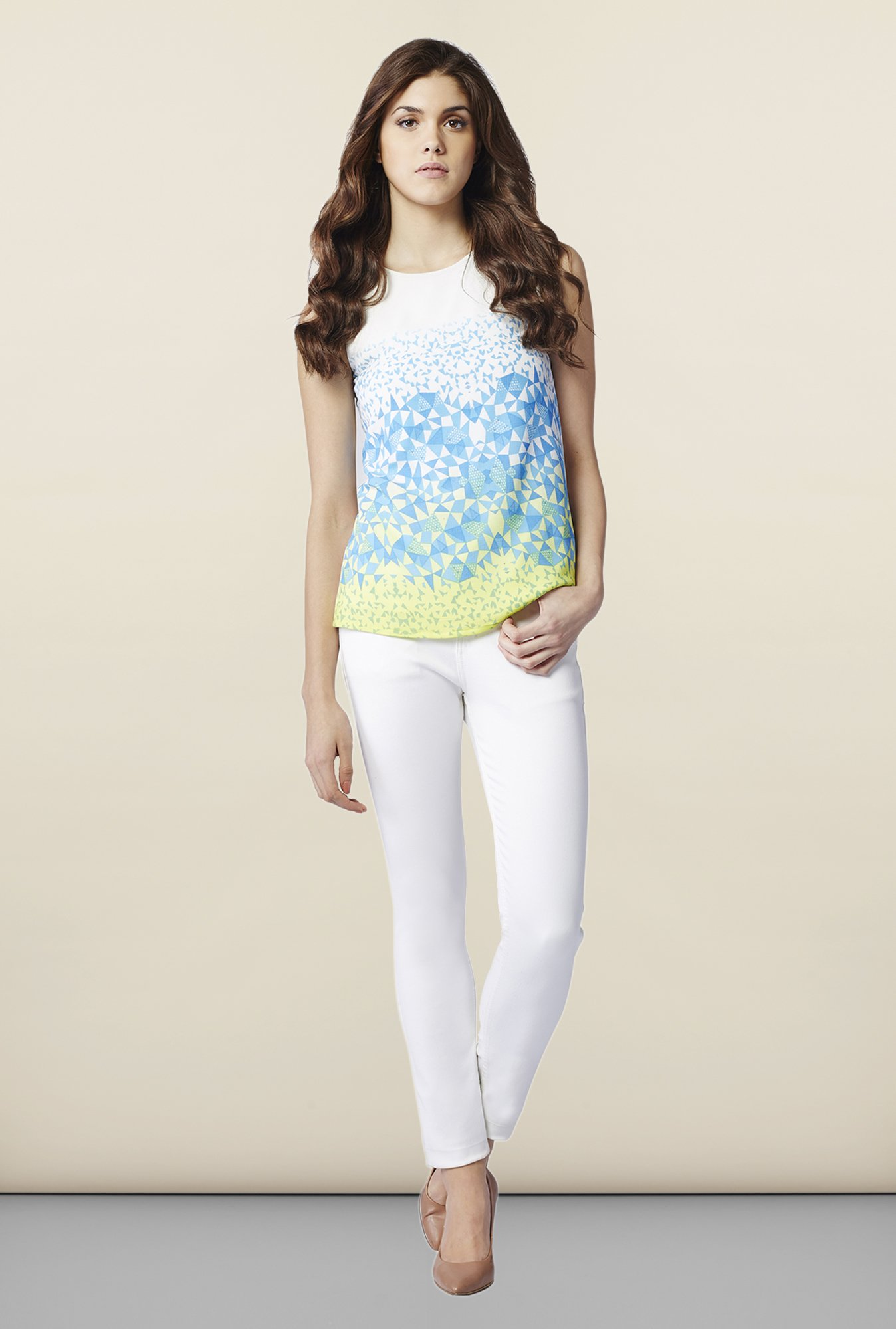 AND White & Blue Printed Regular Fit Top