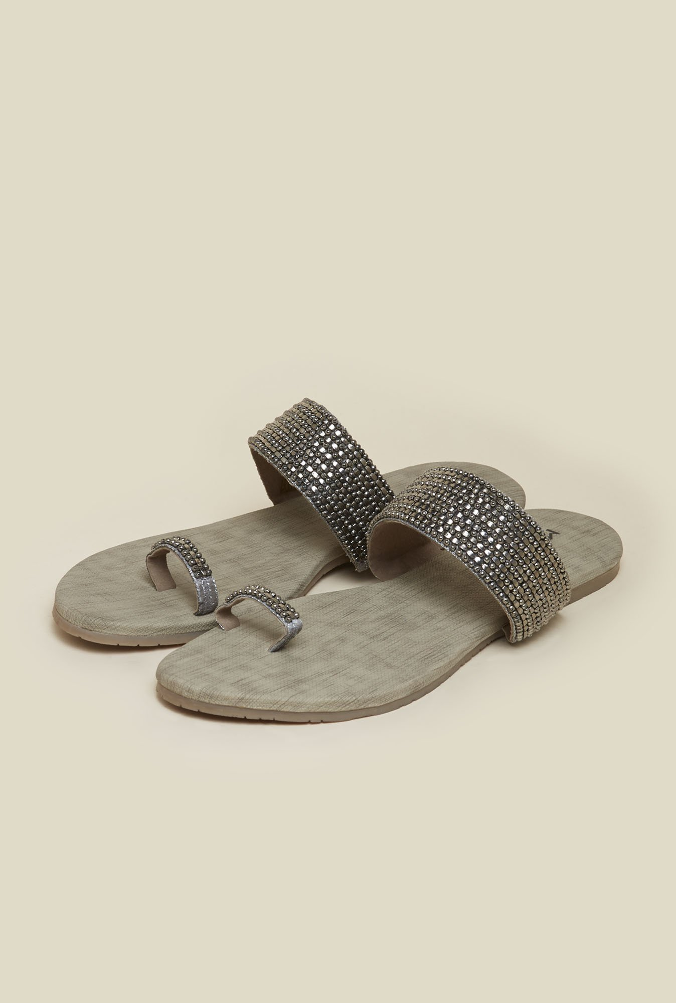 Metro Gun Metal Flat Ethnic Sandals