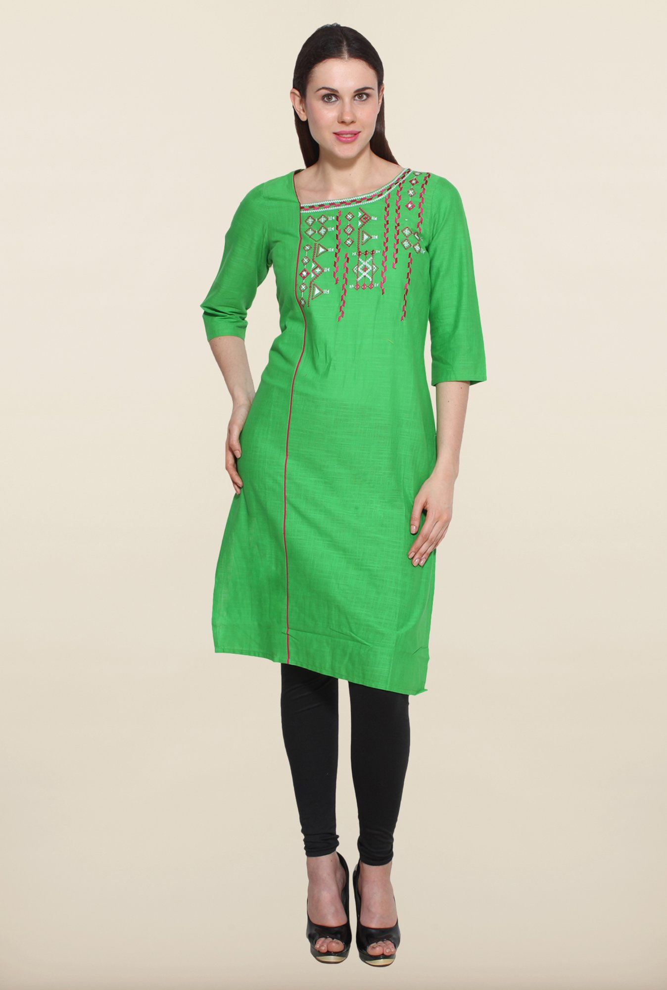 Aurelia Green Cotton Kurta