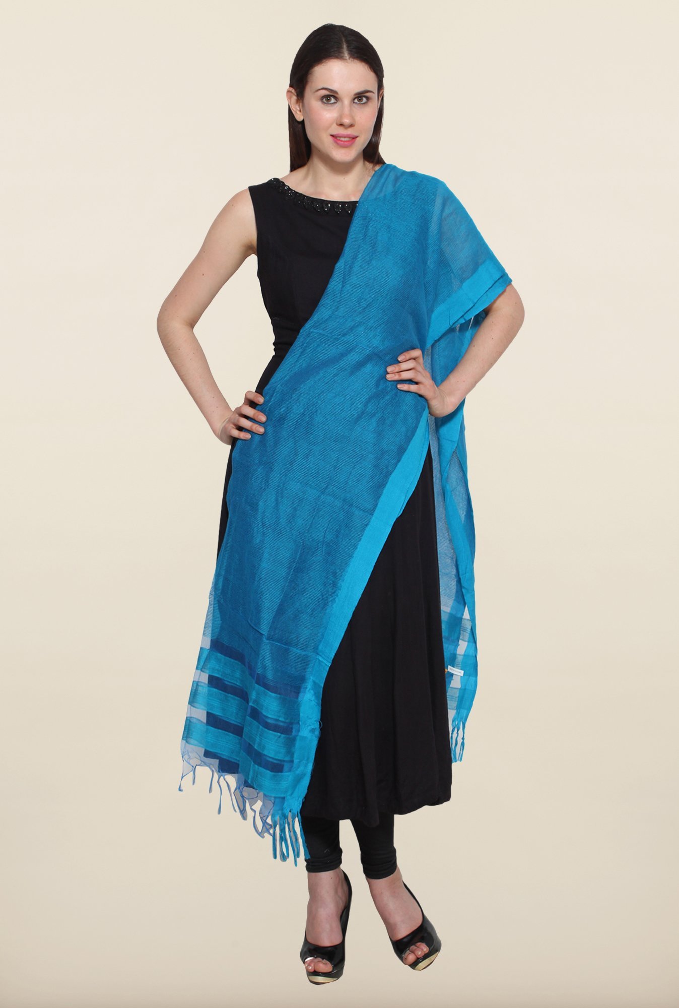 Aurelia Blue Striped Dupatta