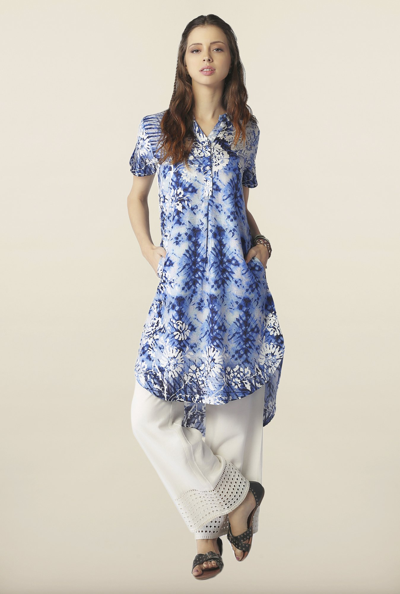 Global Desi Blue Printed High Low Kurti