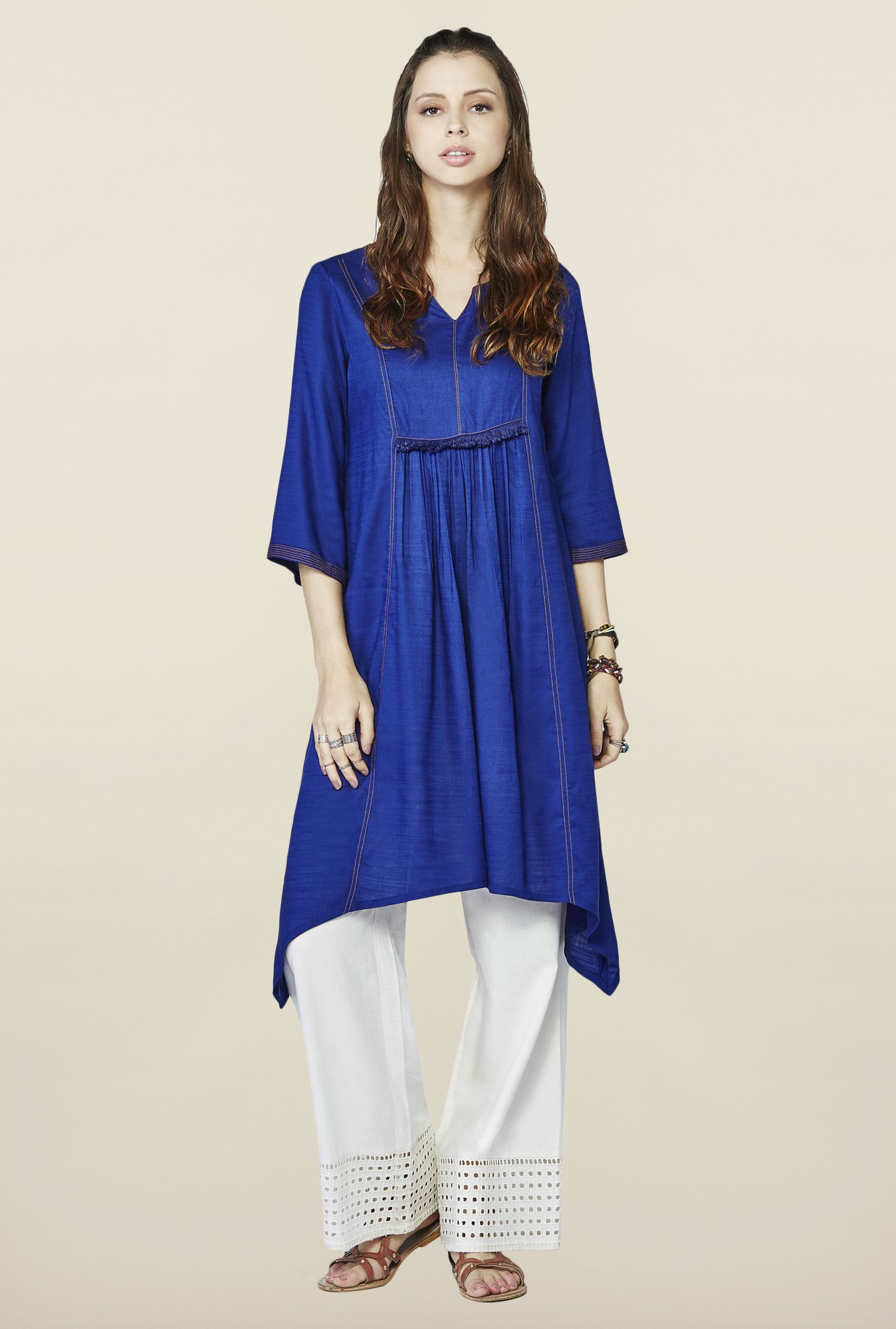 Global Desi Blue Solid kurti