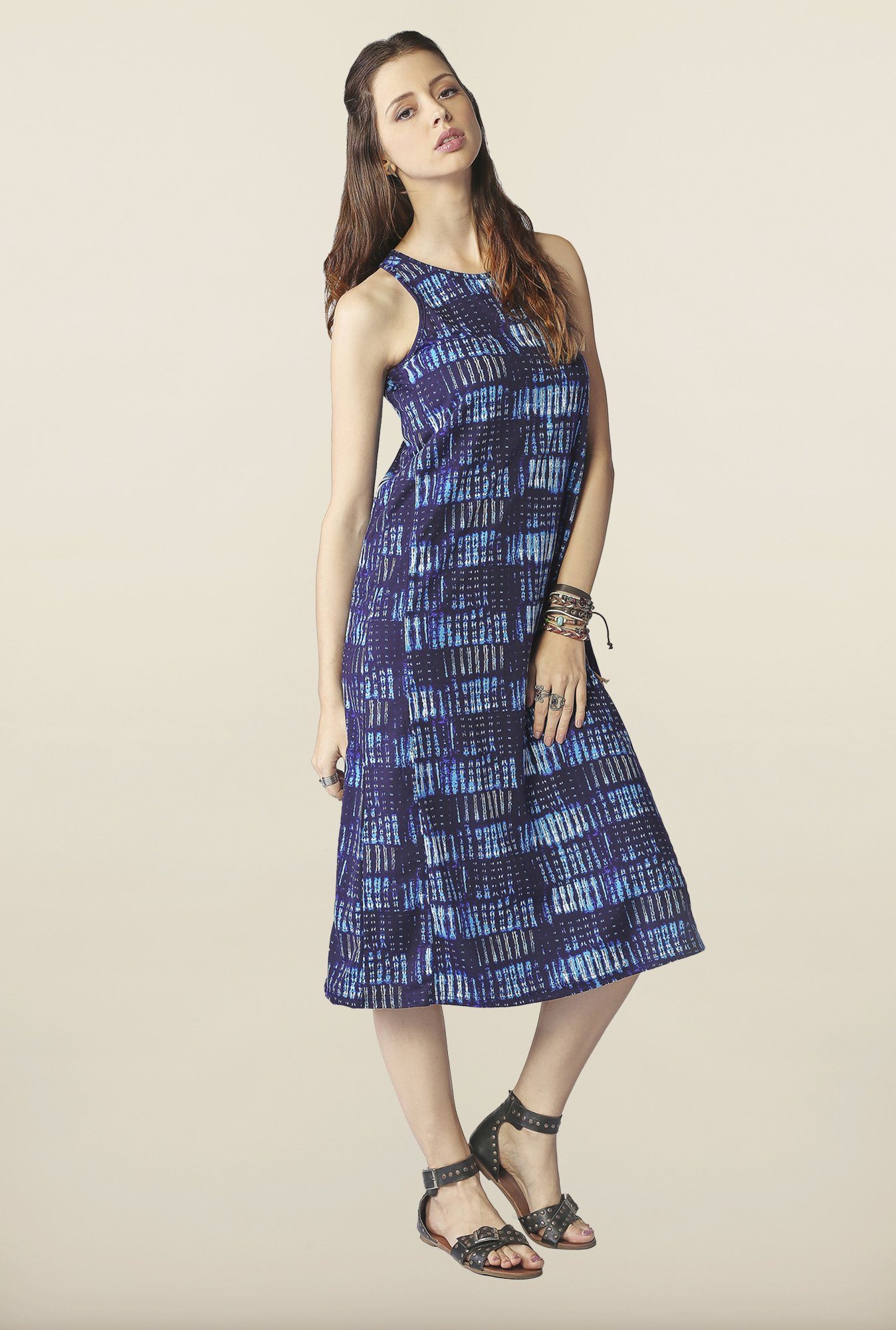 Global Desi Blue Printed Midi Dress