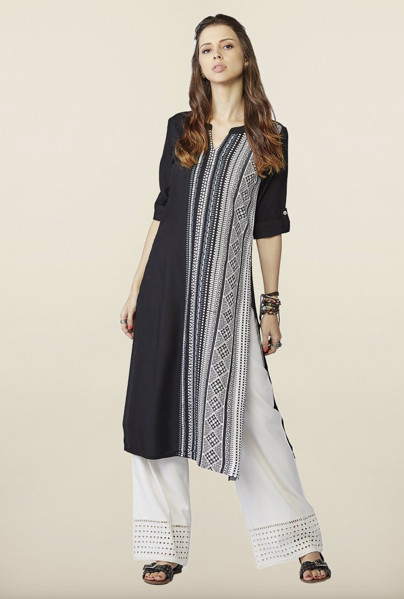 Global Desi Black & White Printed Kurta