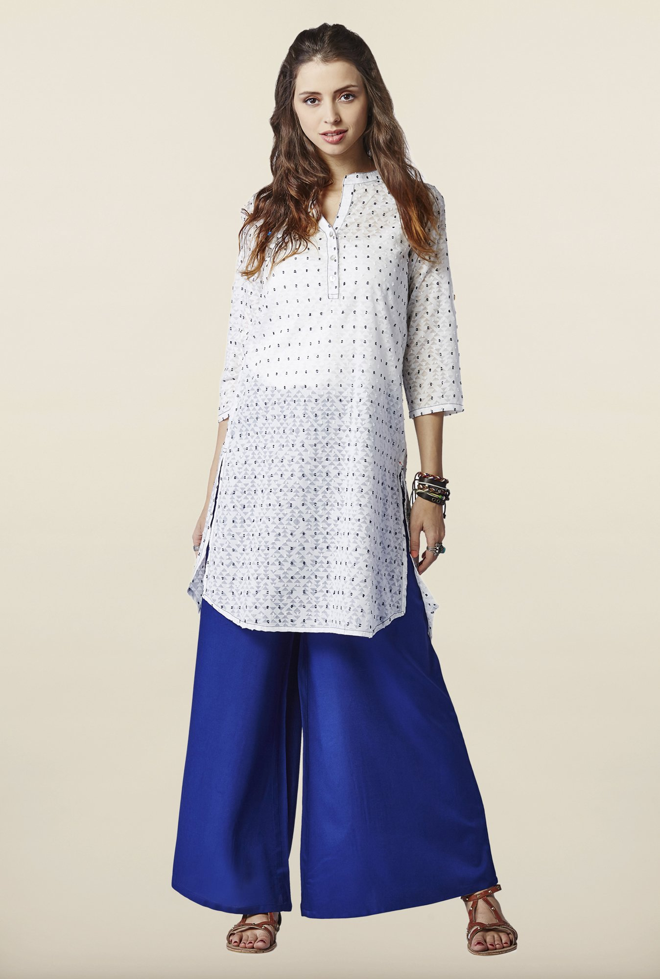 Global Desi White High Low Tunic
