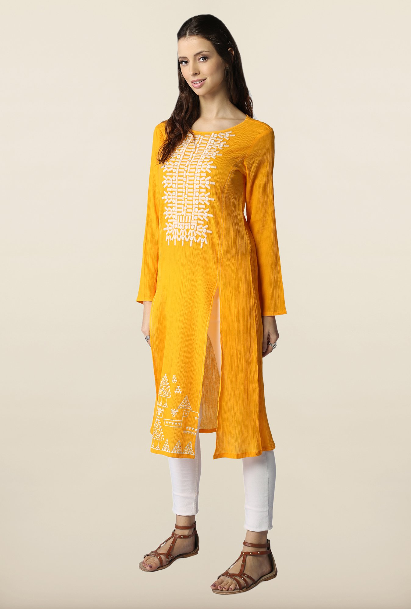 Global Desi Yellow Embroidered Kurti