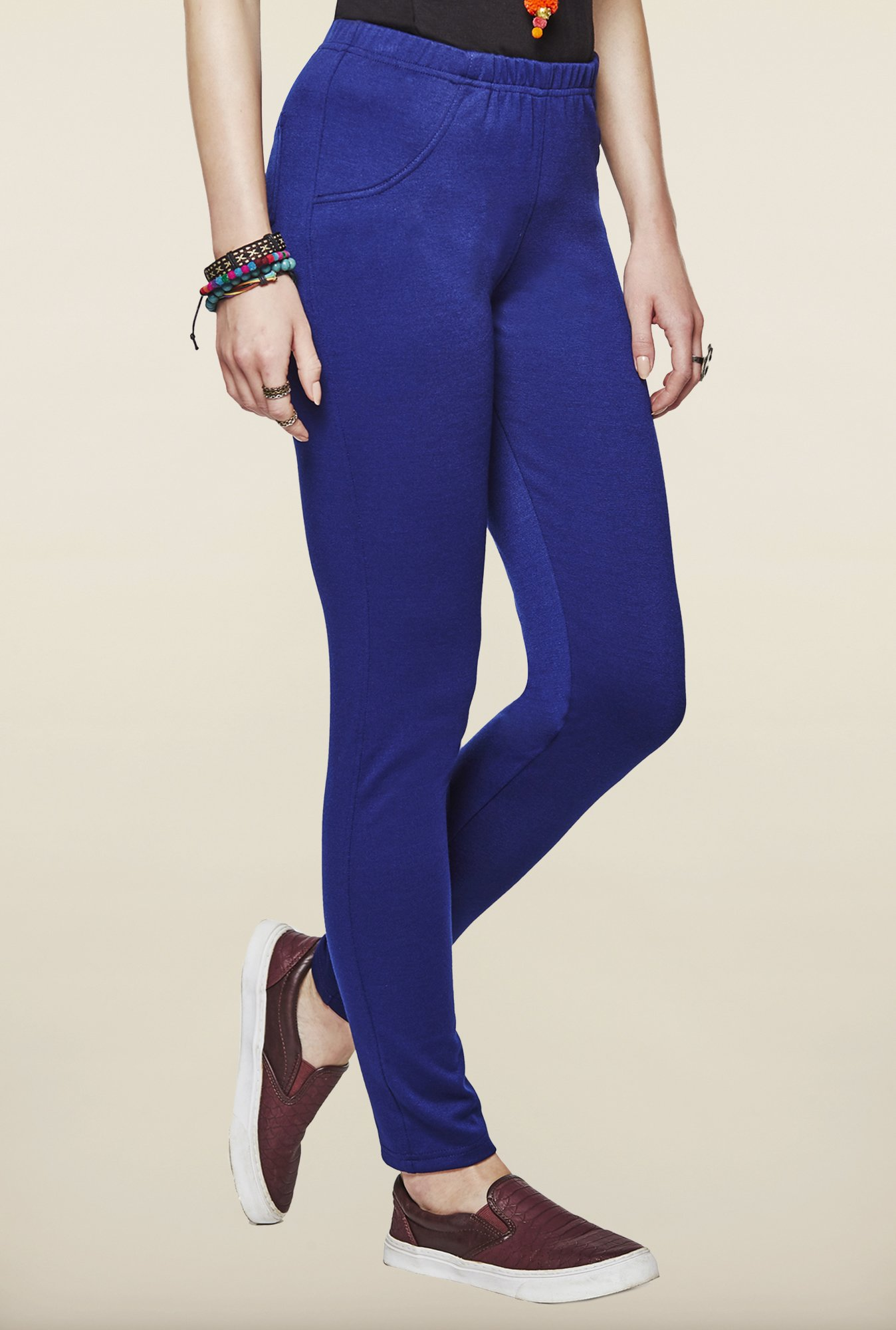 Global Desi Indigo Solid Leggings