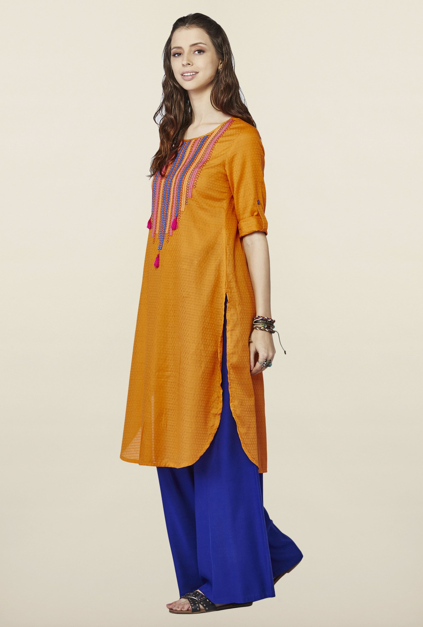 Global Desi Orange Embroidered kurti