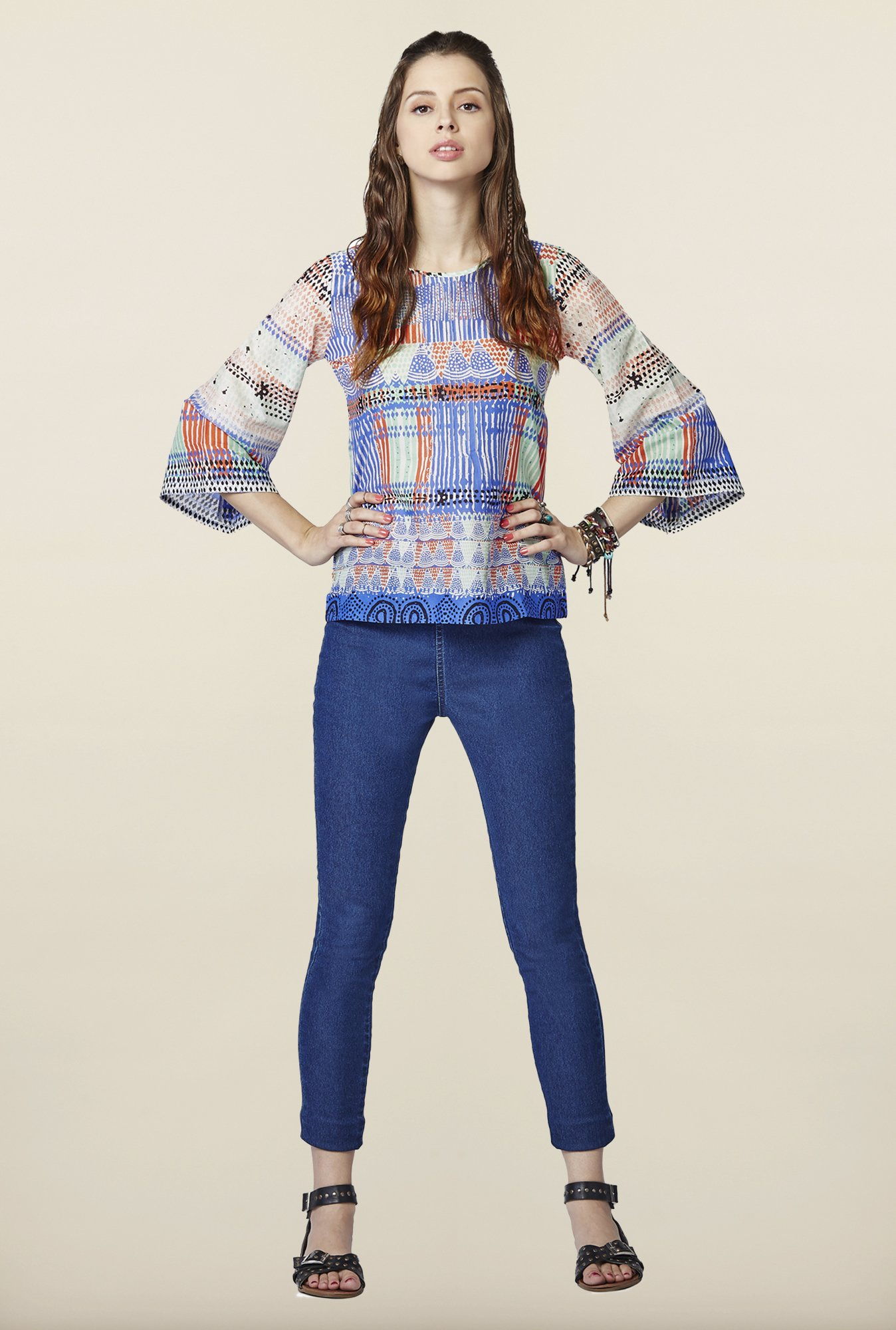 Global Desi Multicolor Printed Top