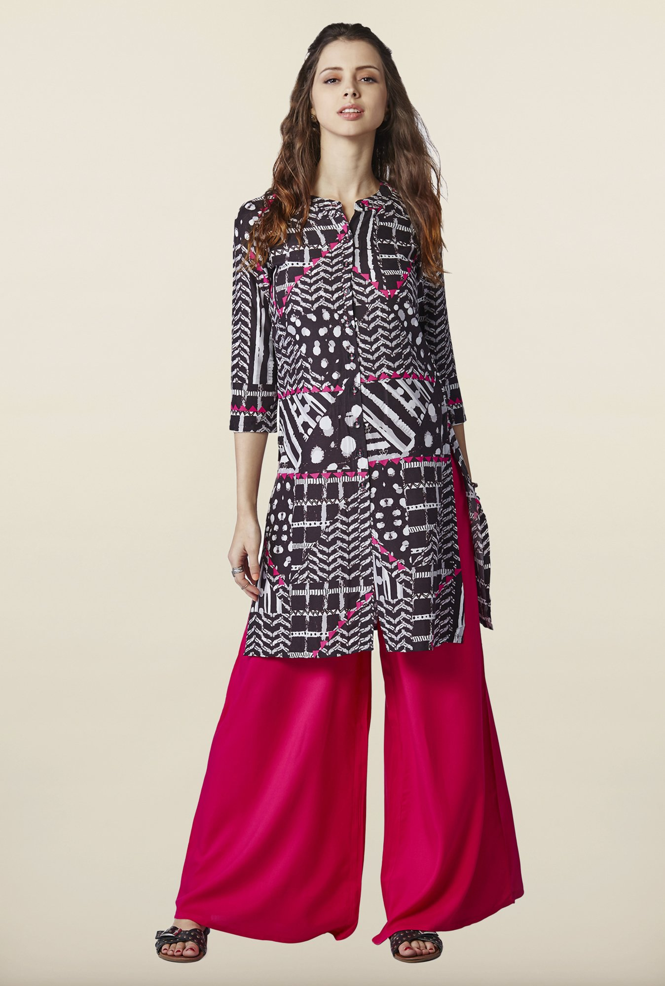 Global Desi Black Regular Fit Kurti
