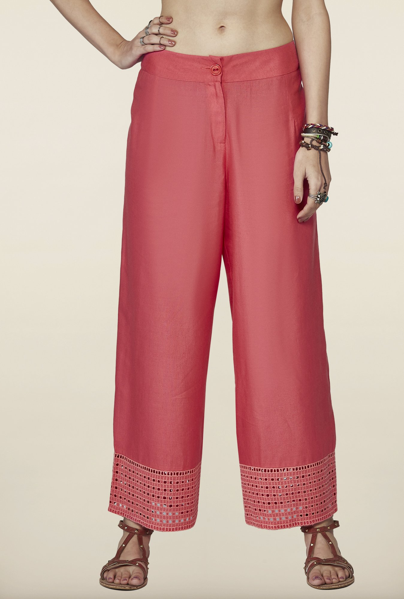 Global Desi Coral Solid Hakoba Pants