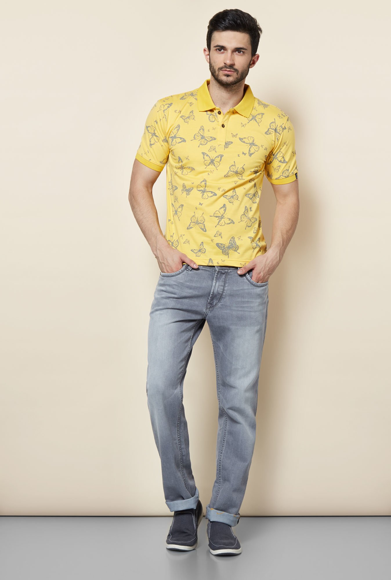 Easies Yellow Printed Polo T-Shirt