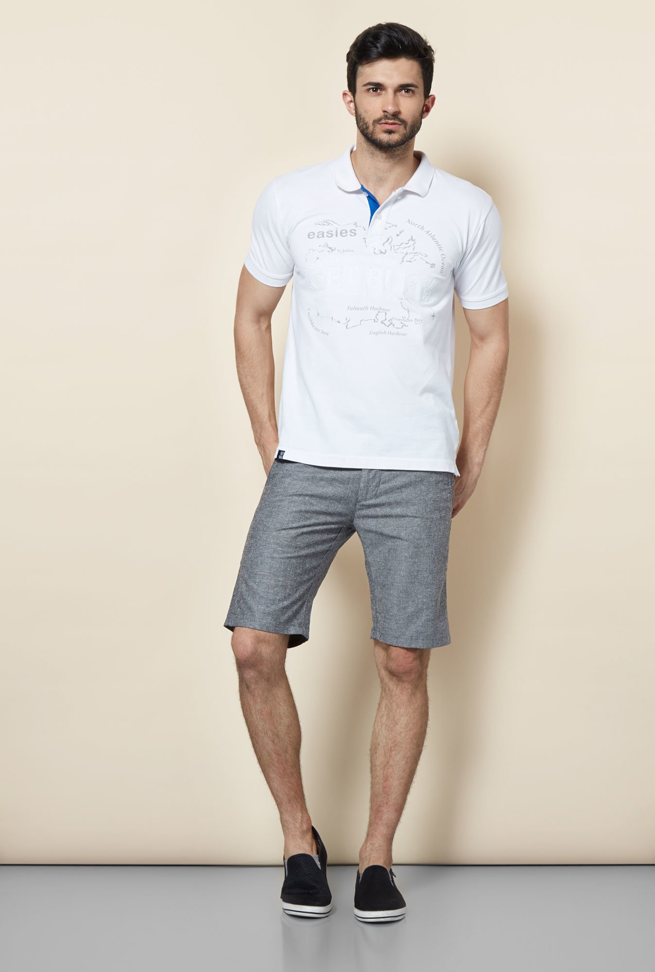 Easies Grey Solid Shorts