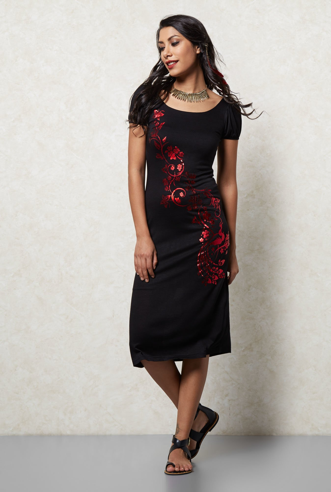 Ira Soleil Black Printed Dress