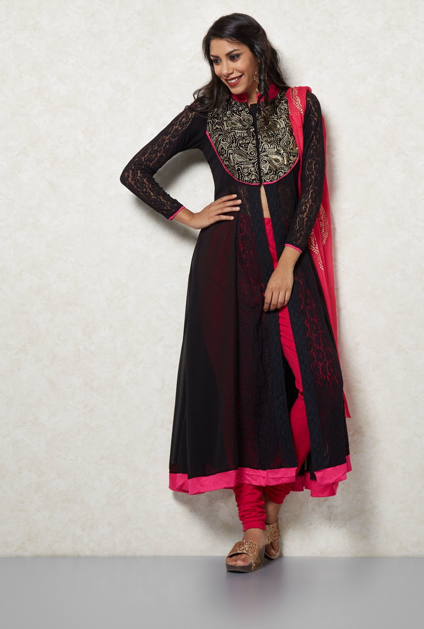 Ira Soleil Black & Pink Embroidered Suit Set