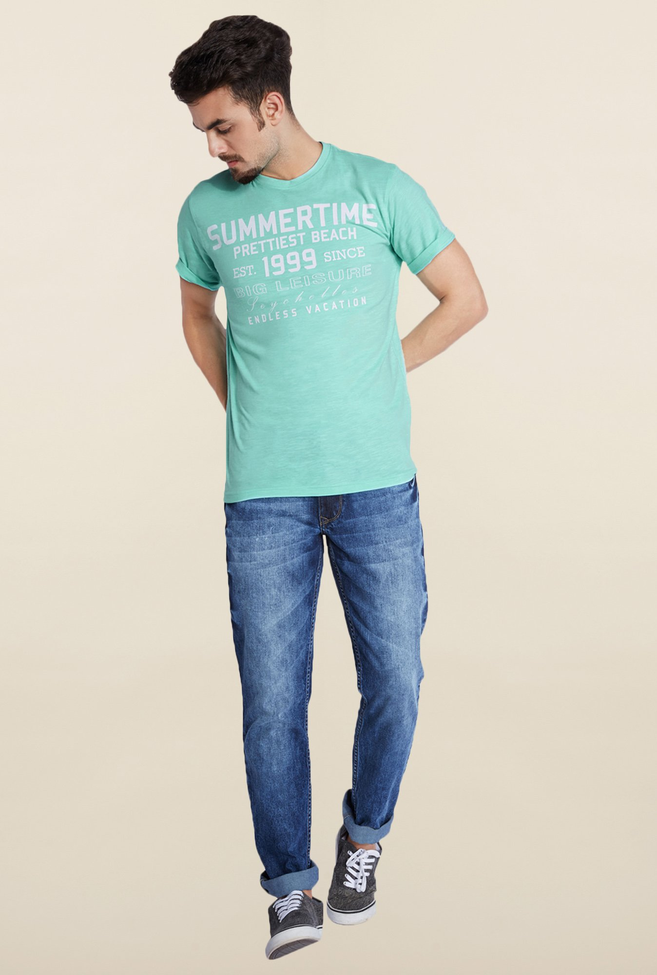 Parx Light Blue Printed Cotton T-Shirt