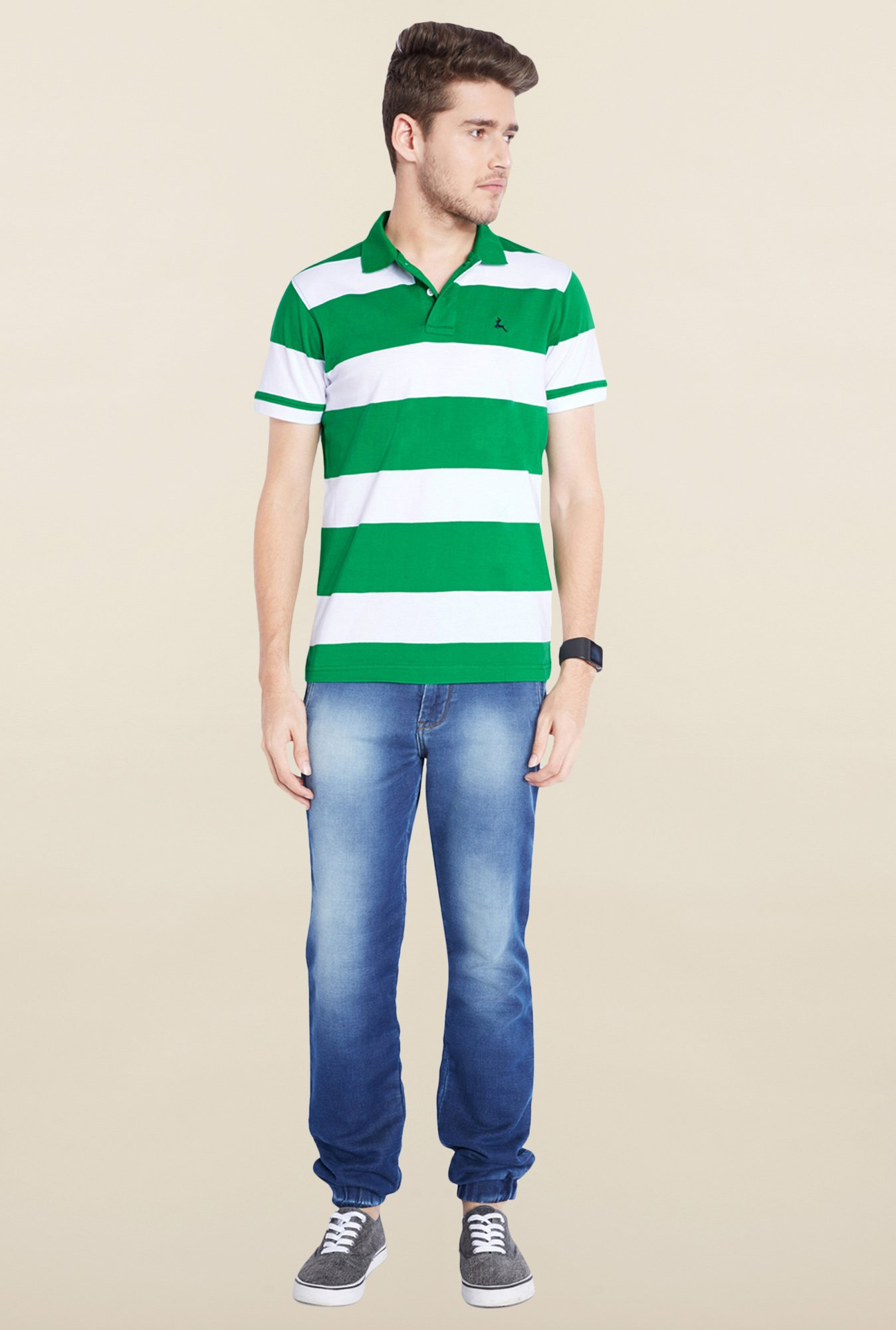 Parx Green & White Striped Cotton T-Shirt