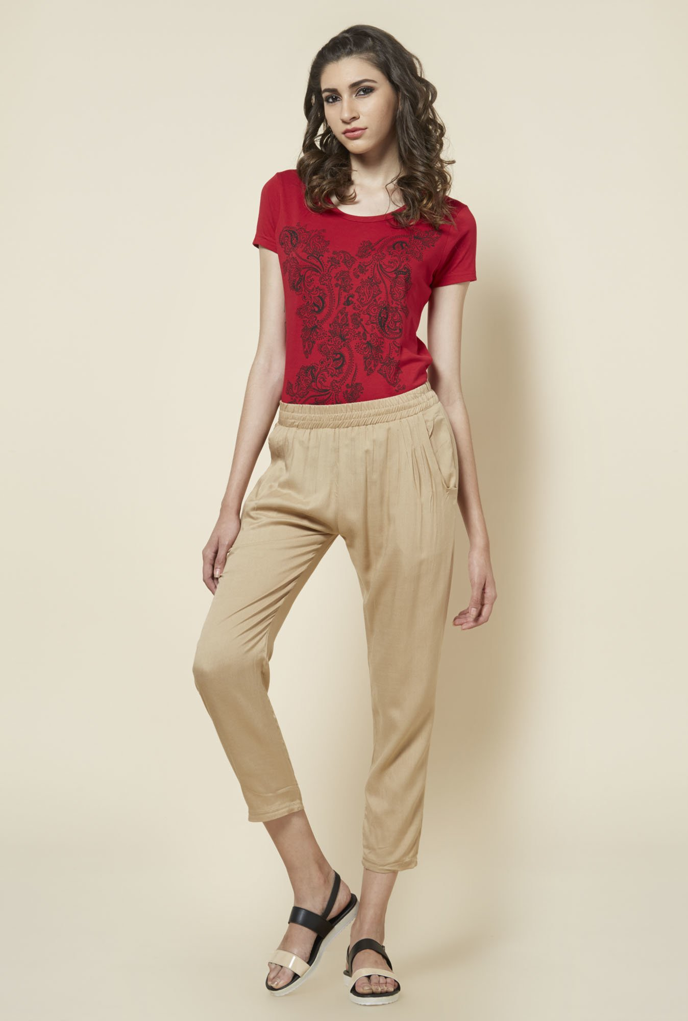 Zudio Red Paisley Printed Top