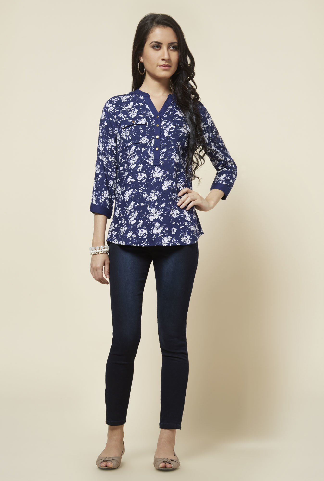 Zudio Navy Floral Printed Top