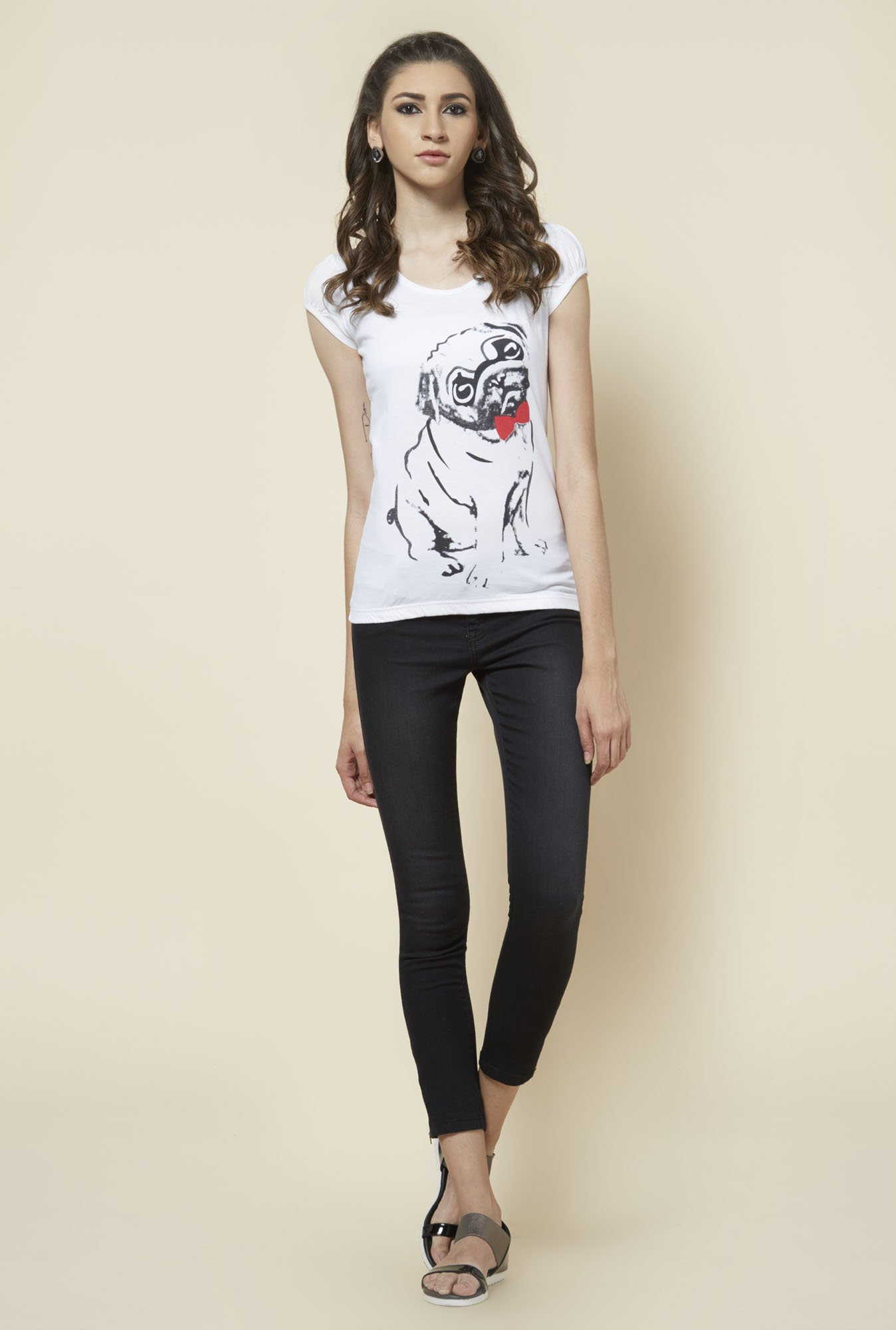 Zudio White Pug Printed T Shirt
