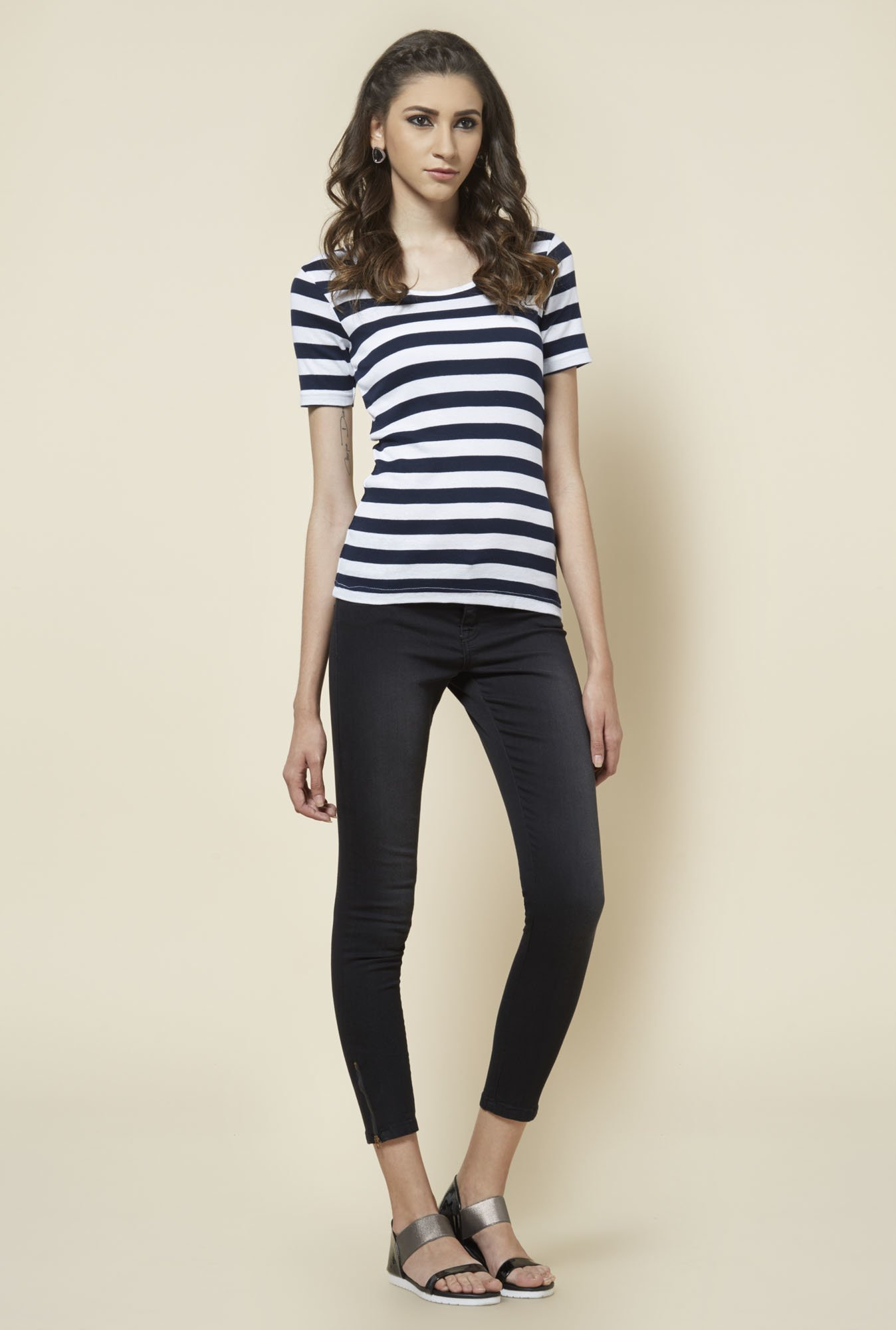 Zudio Navy & White Striped T Shirt