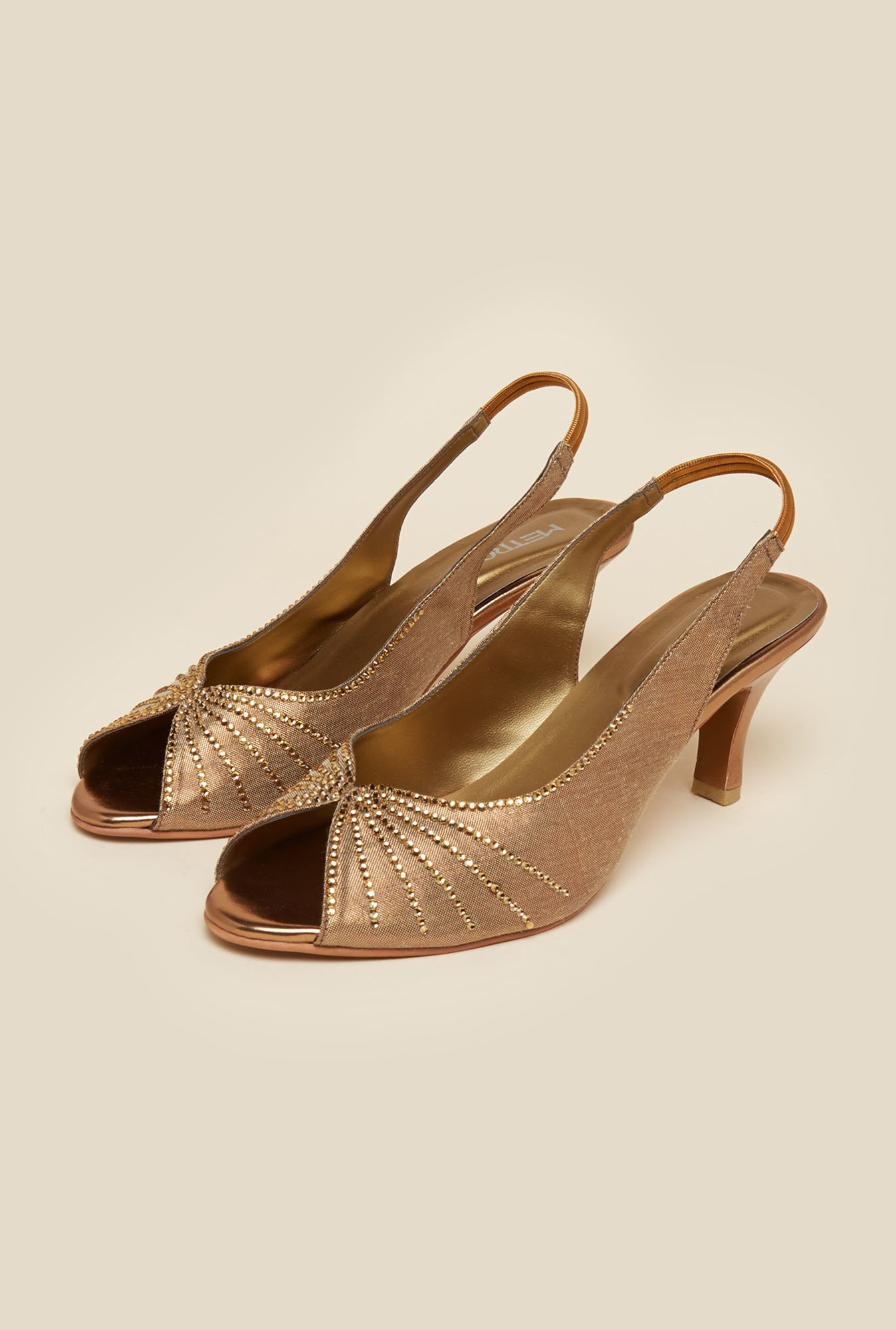 Metro Antique Gold Peep Toe Sandals