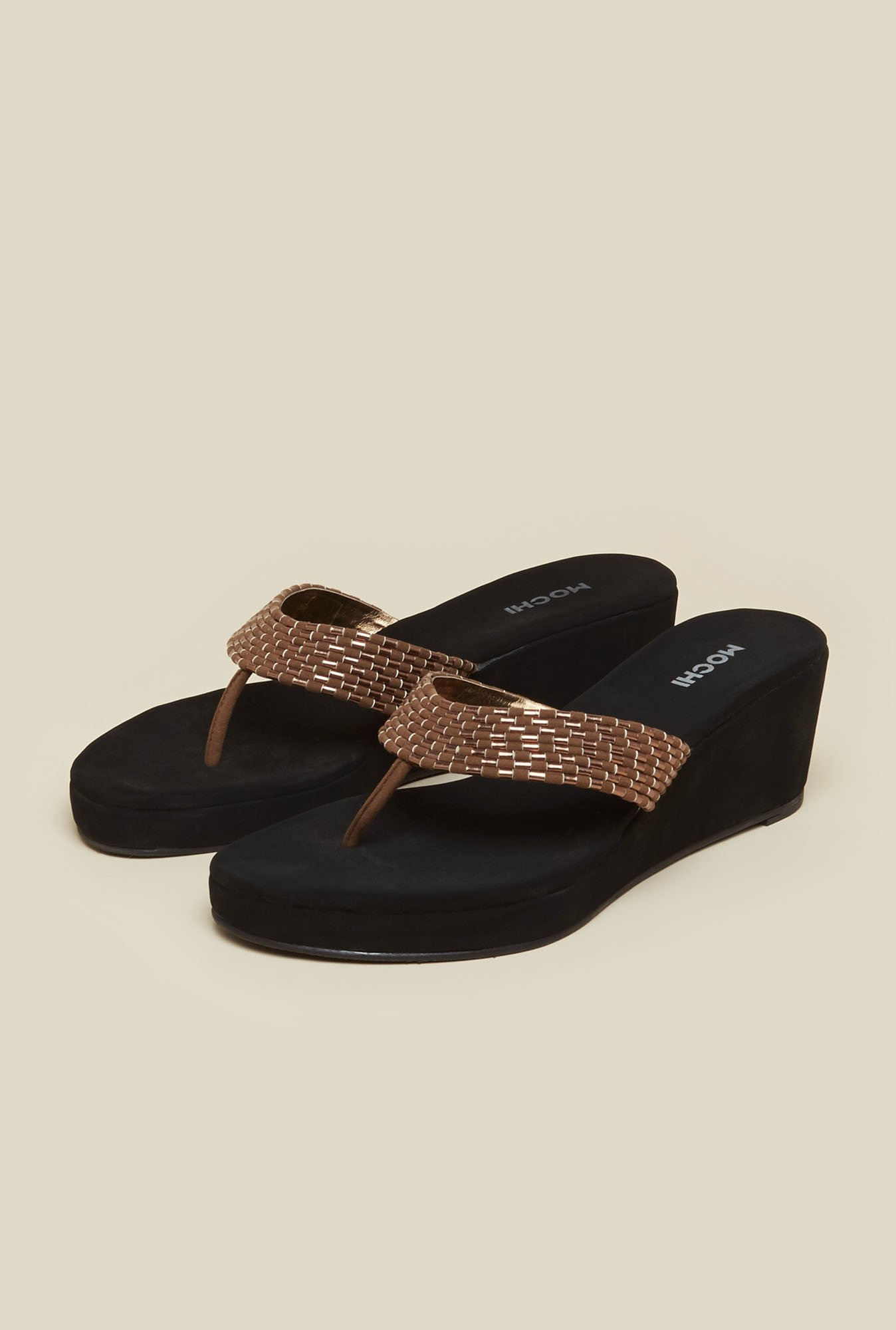 Mochi Brown Thong Wedges