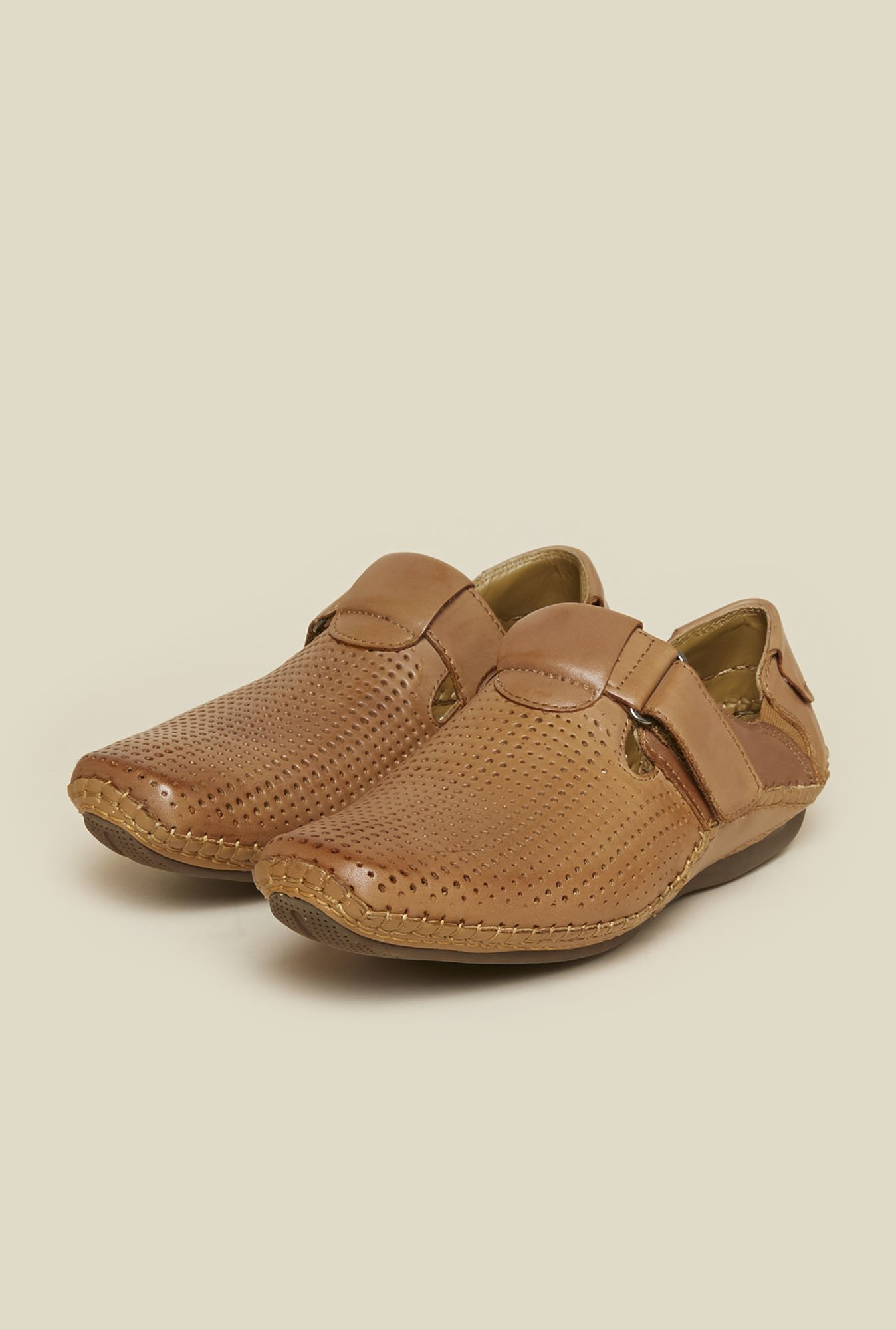 J. Fontini by Mochi Tan Leather Sandals