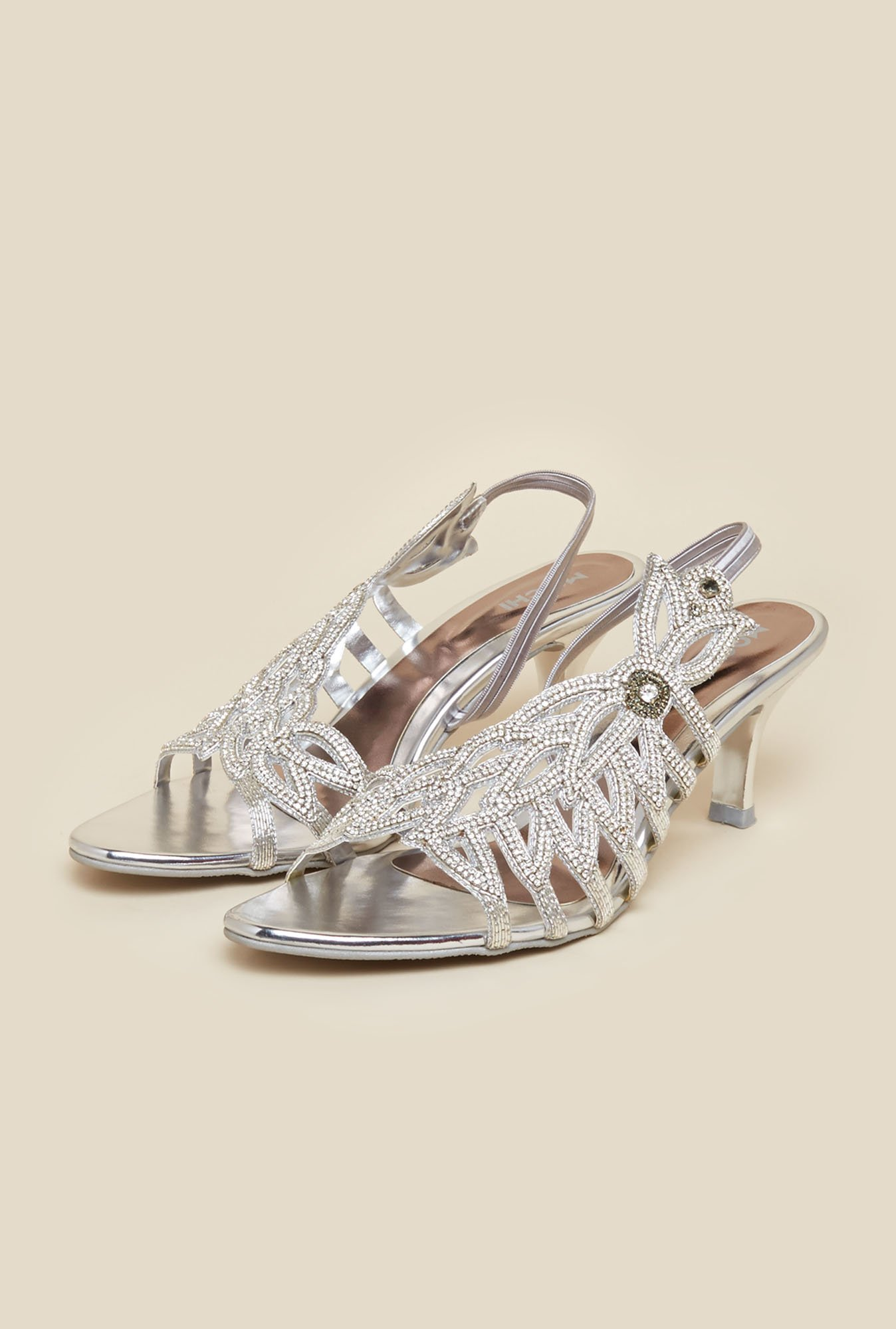 Mochi Silver Diamond Embellished Stilettos