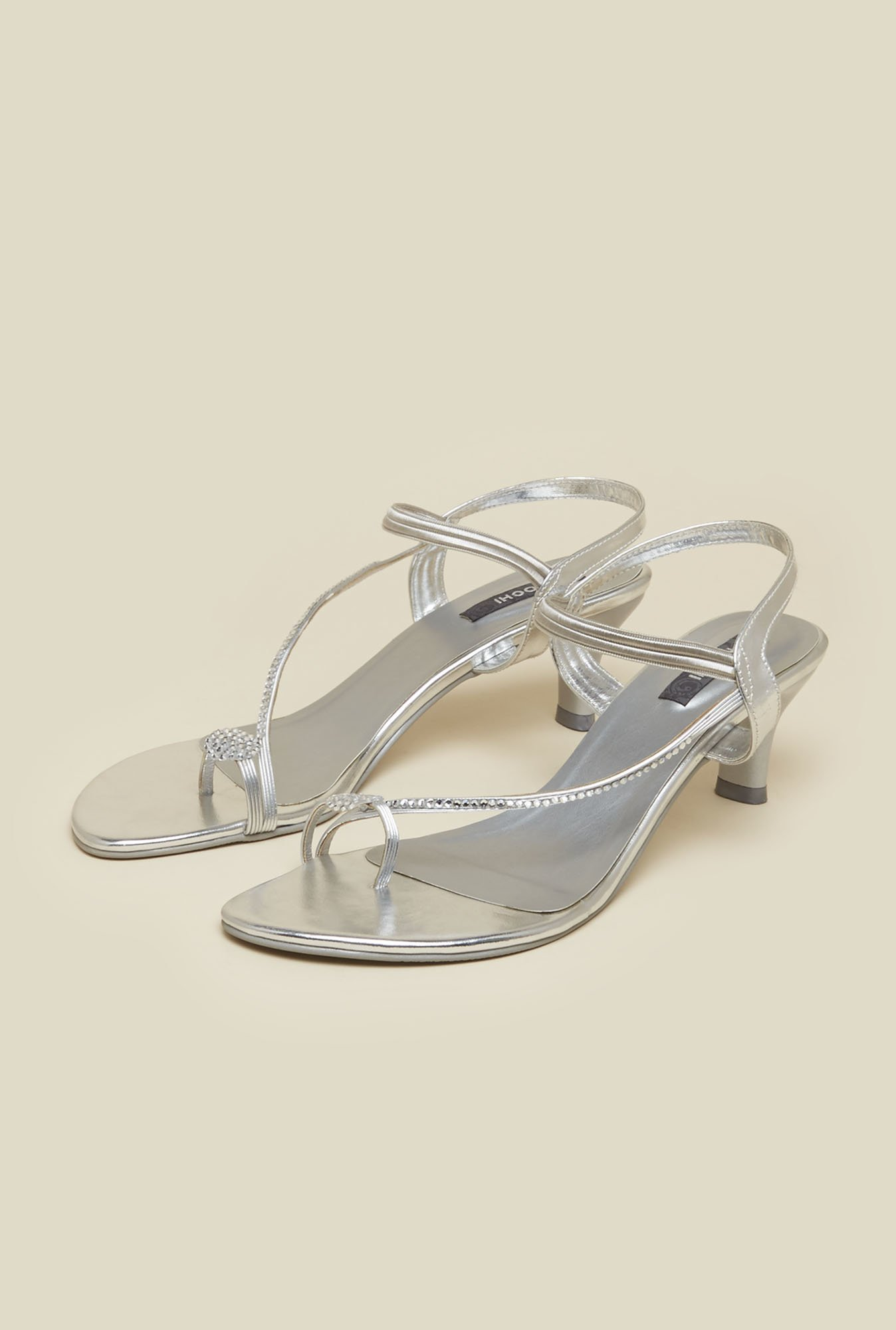 Mochi Silver Diamond Embossed Stiletto Sandals