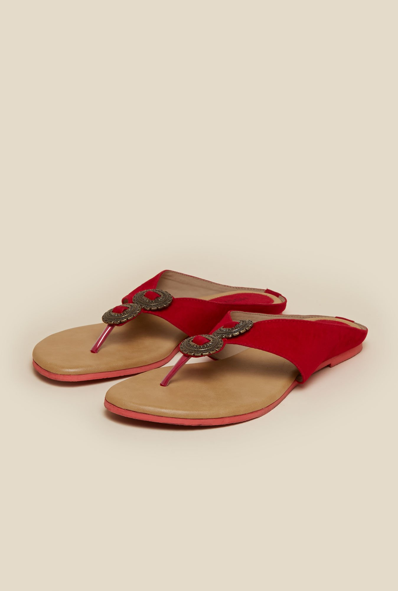 Mochi Scarlet Red Flat Thong Sandals