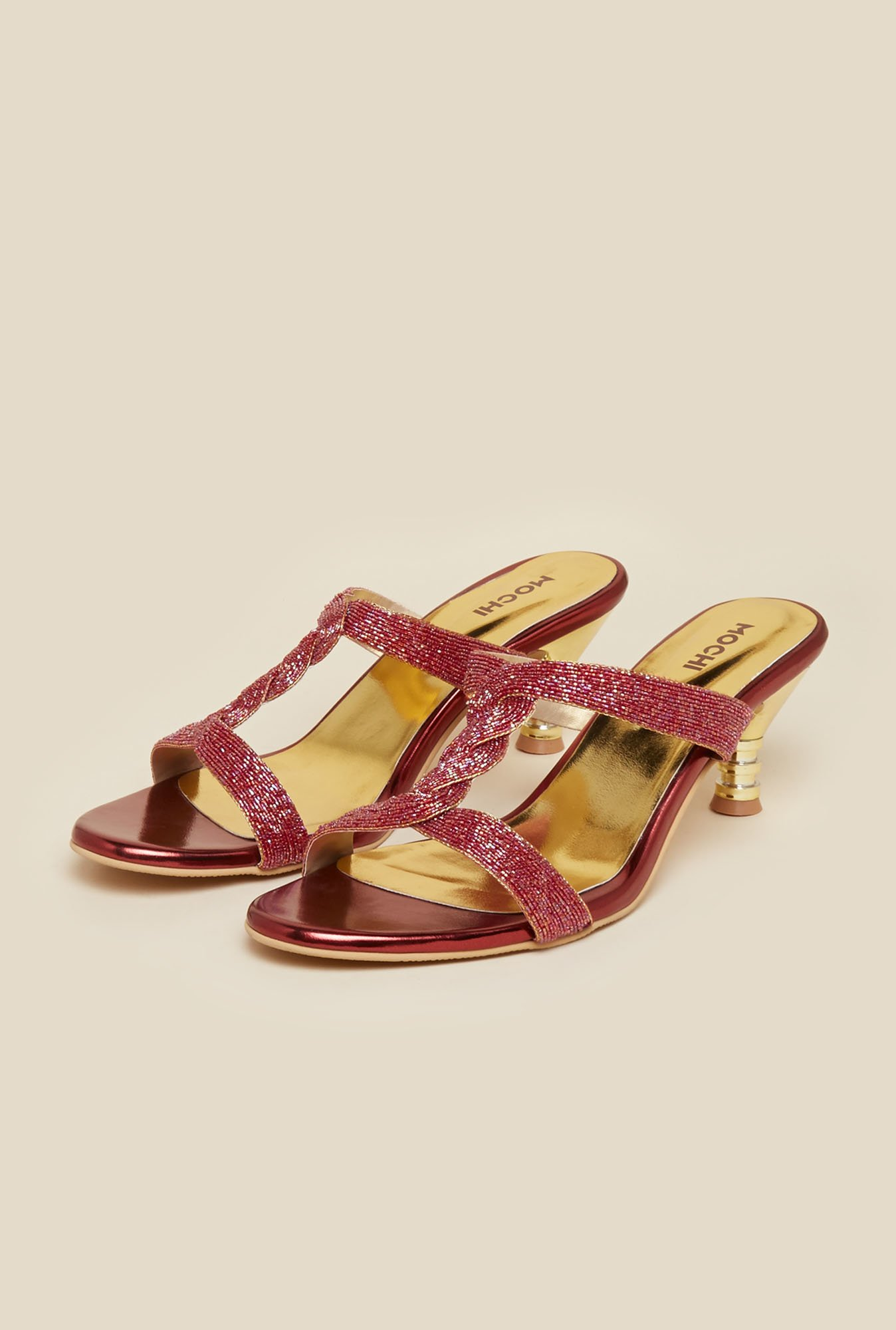Mochi Maroon Beaded Heel Sandals