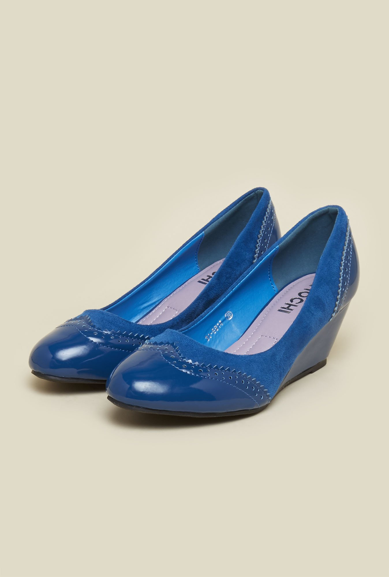 Mochi Blue Wedge Heel Shoes