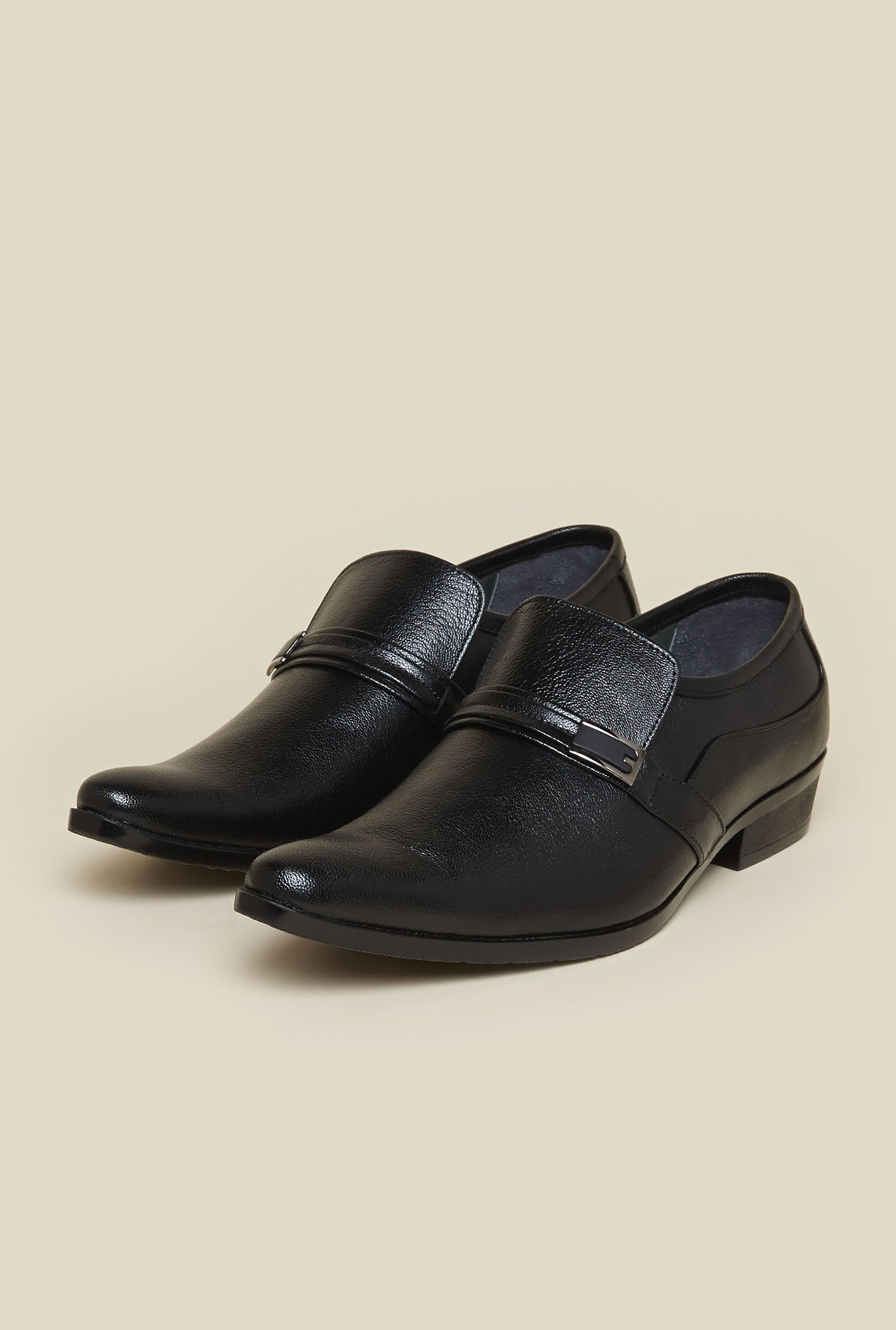 Mochi Black Leather Slip-Ons