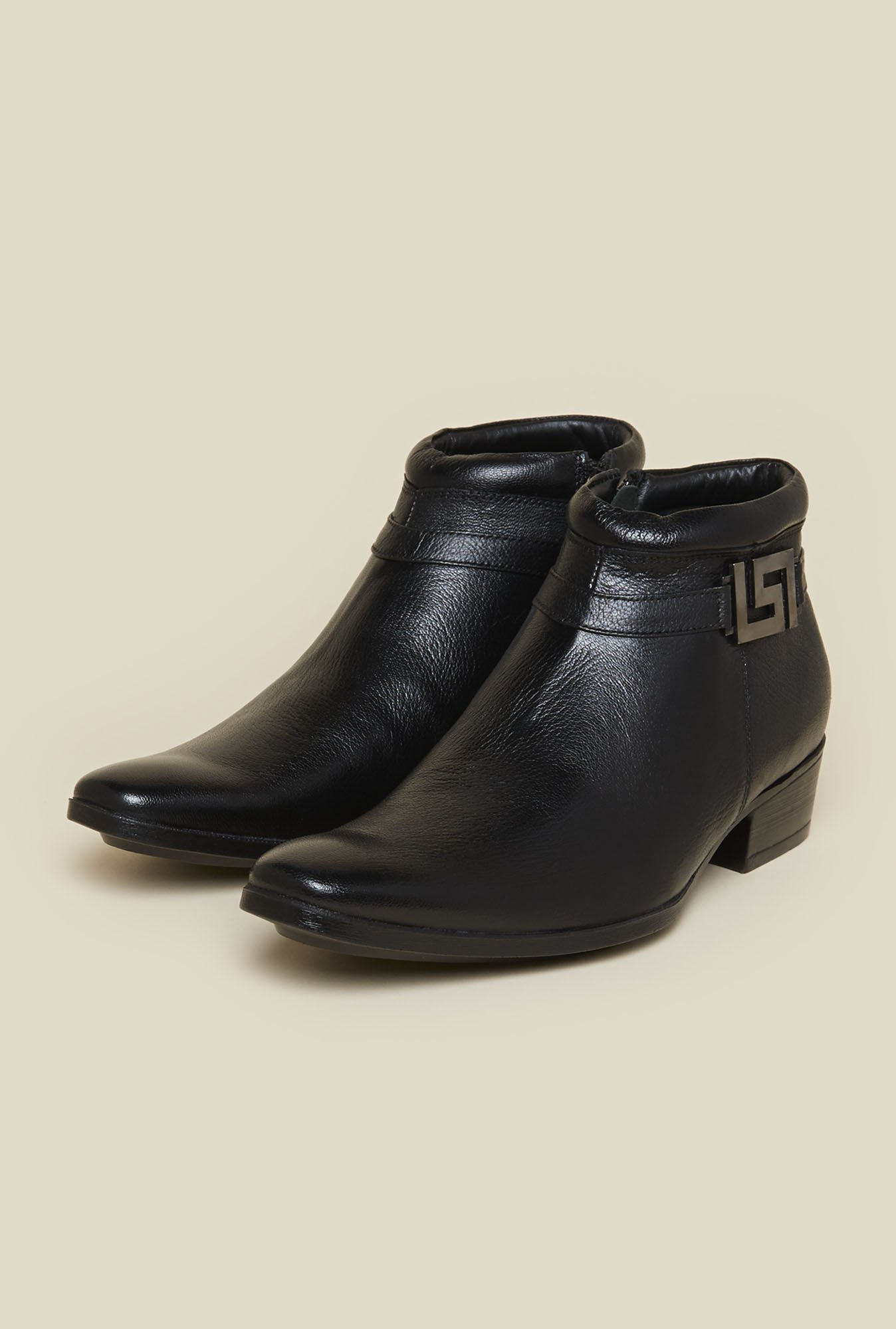 Mochi Black Leather Casual Boots