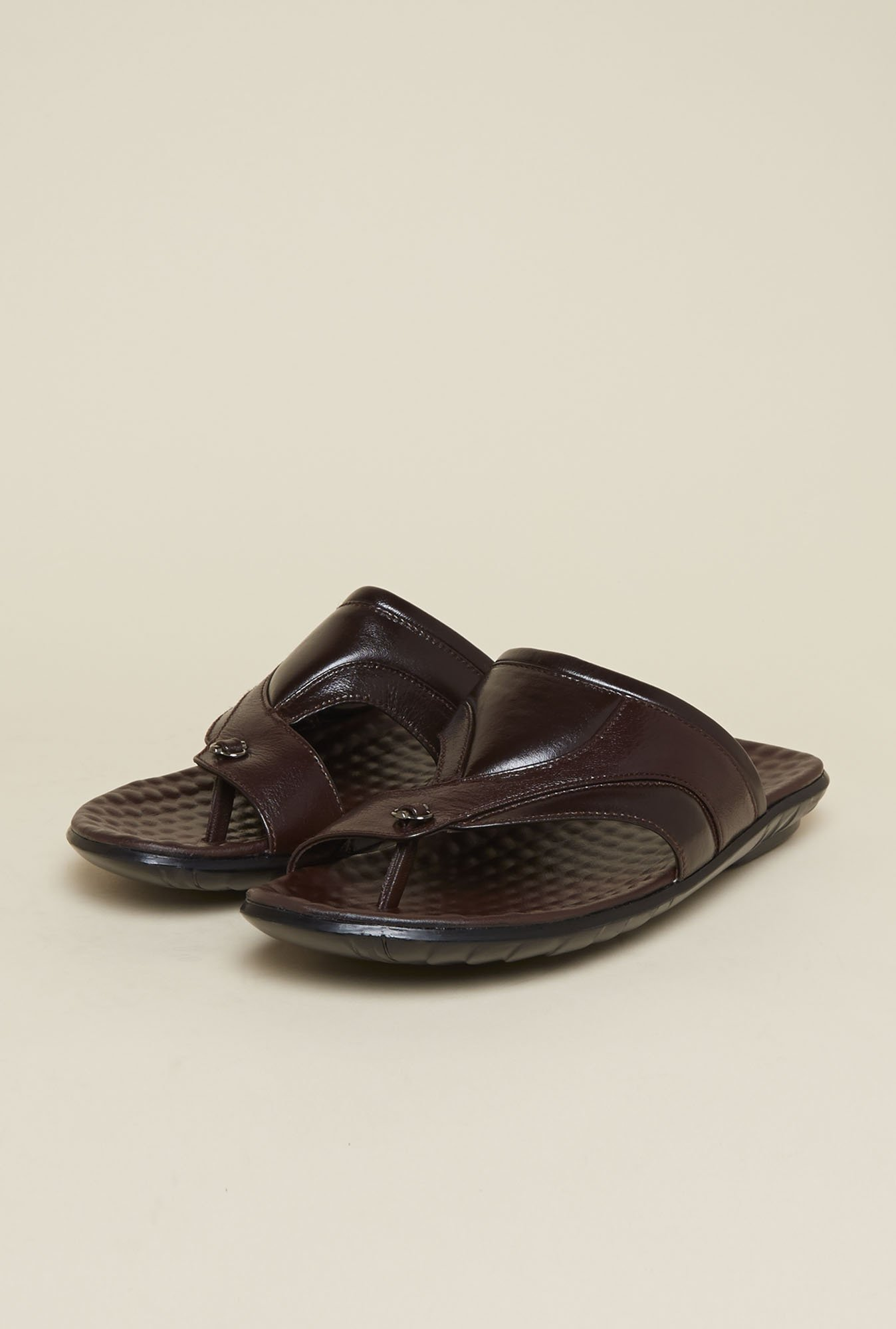 Mochi Brown Leather Toe Ring Sandals