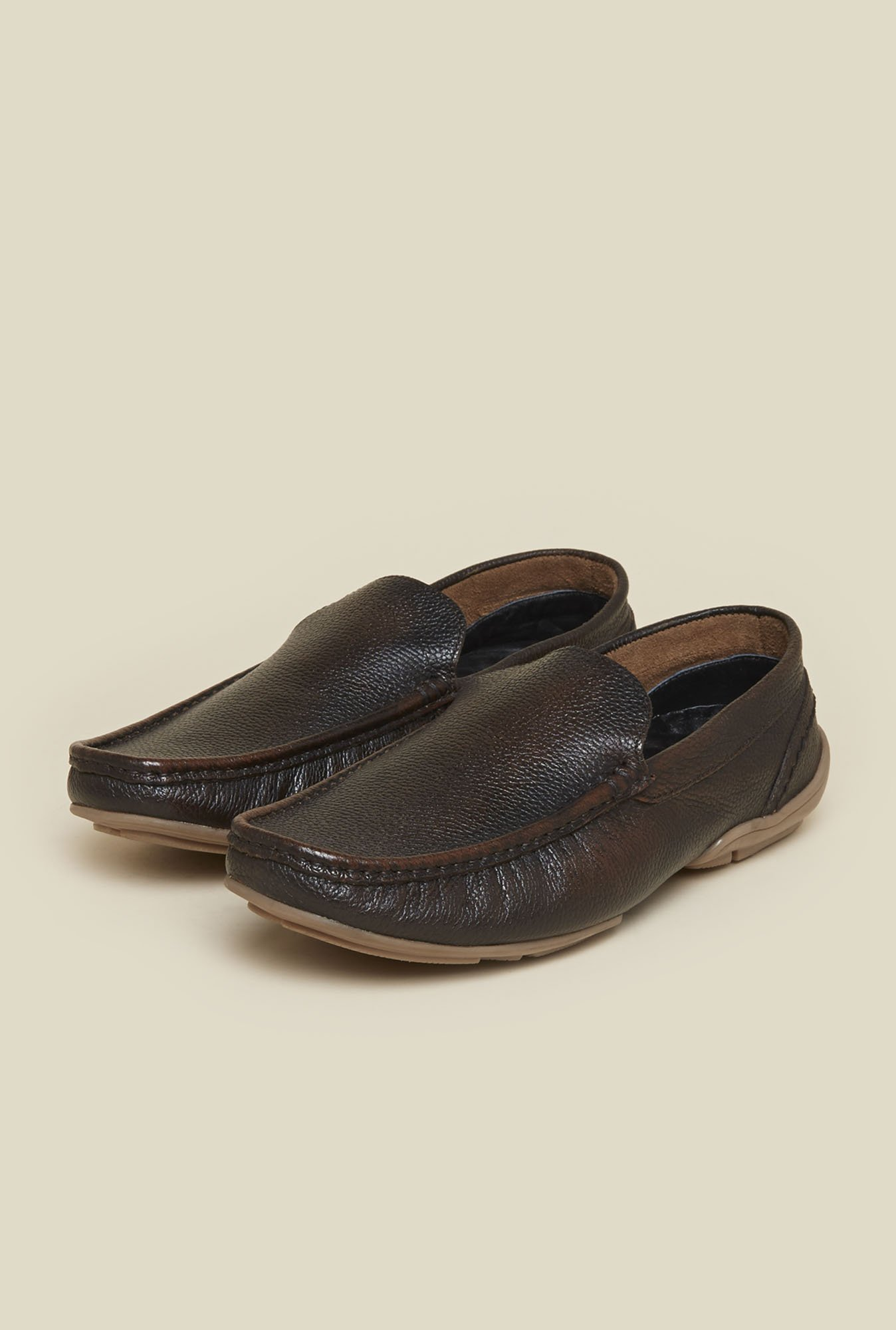 Mochi Brown Leather Moccasins