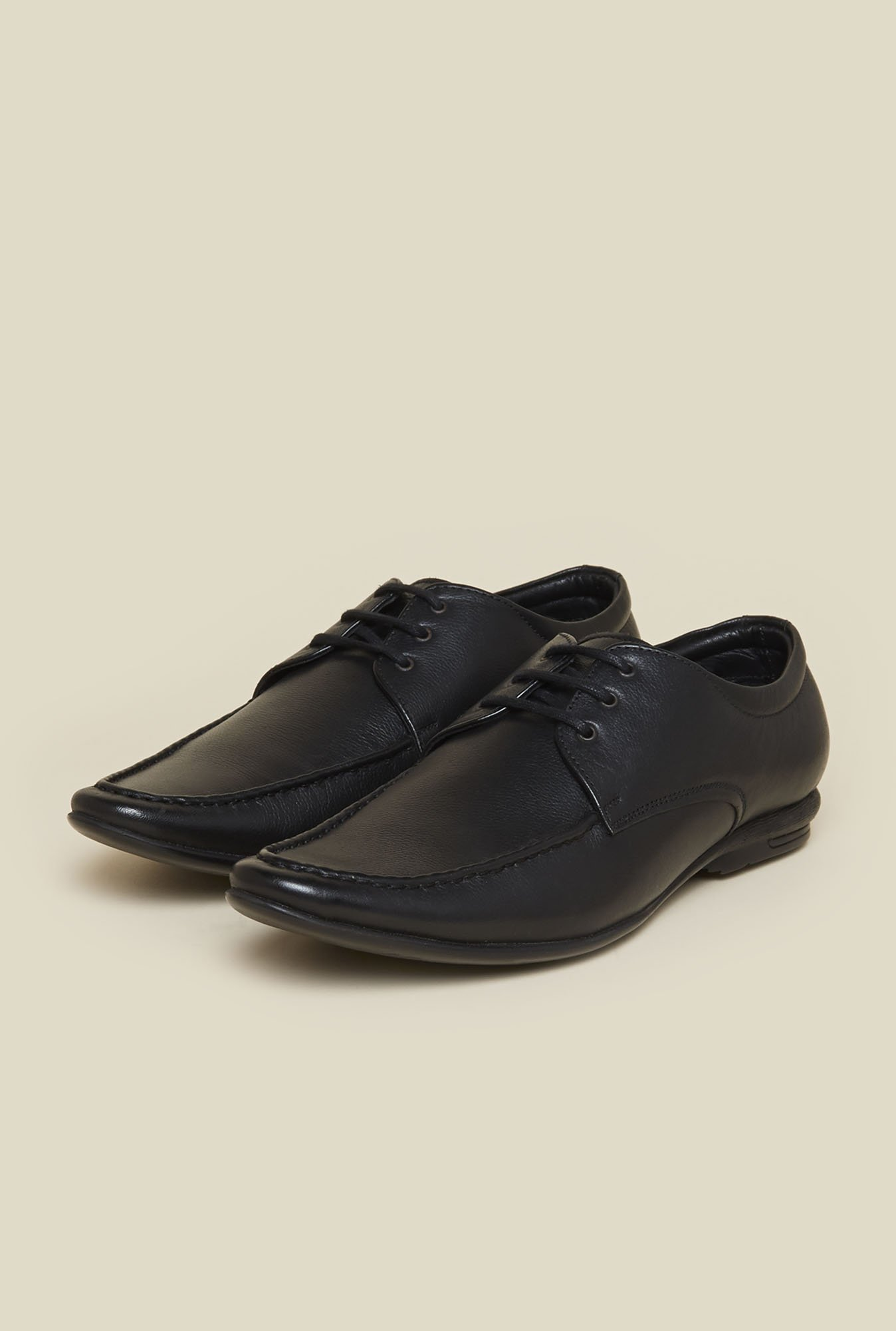 Mochi Black Leather Formal Shoes