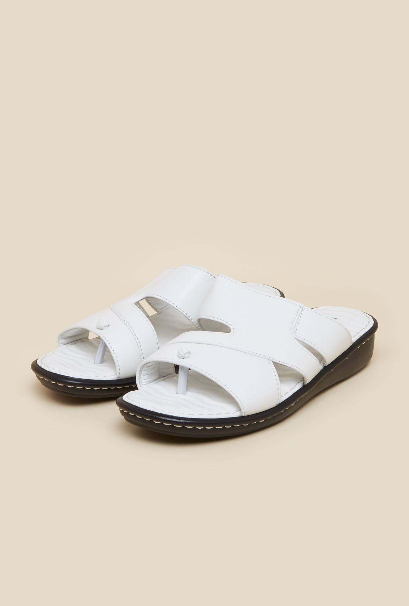Mochi White Leather Casual Sandals