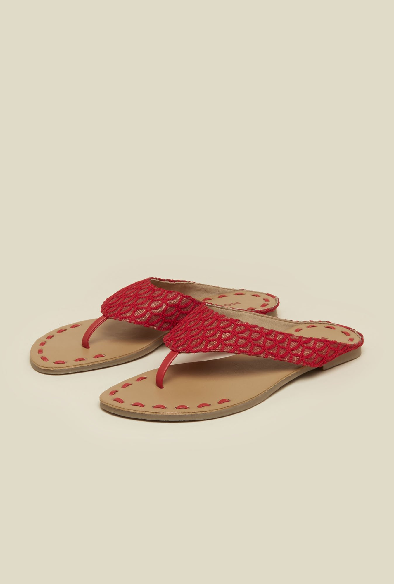 Mochi Red Lace Thong Sandals