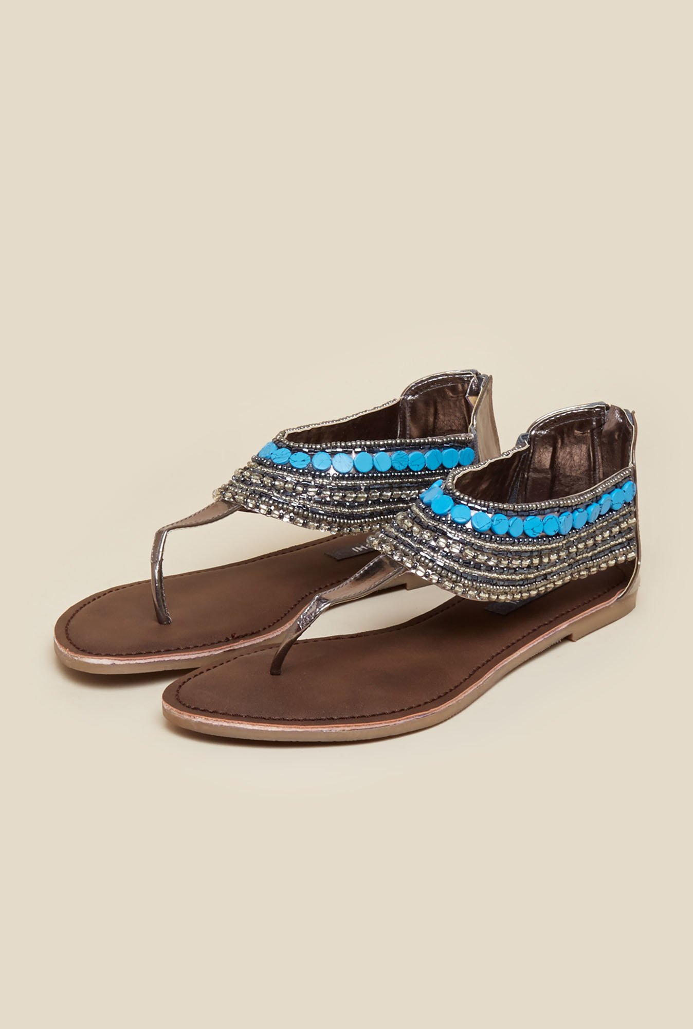 Mochi Gun Metal Beaded Flat Sandals