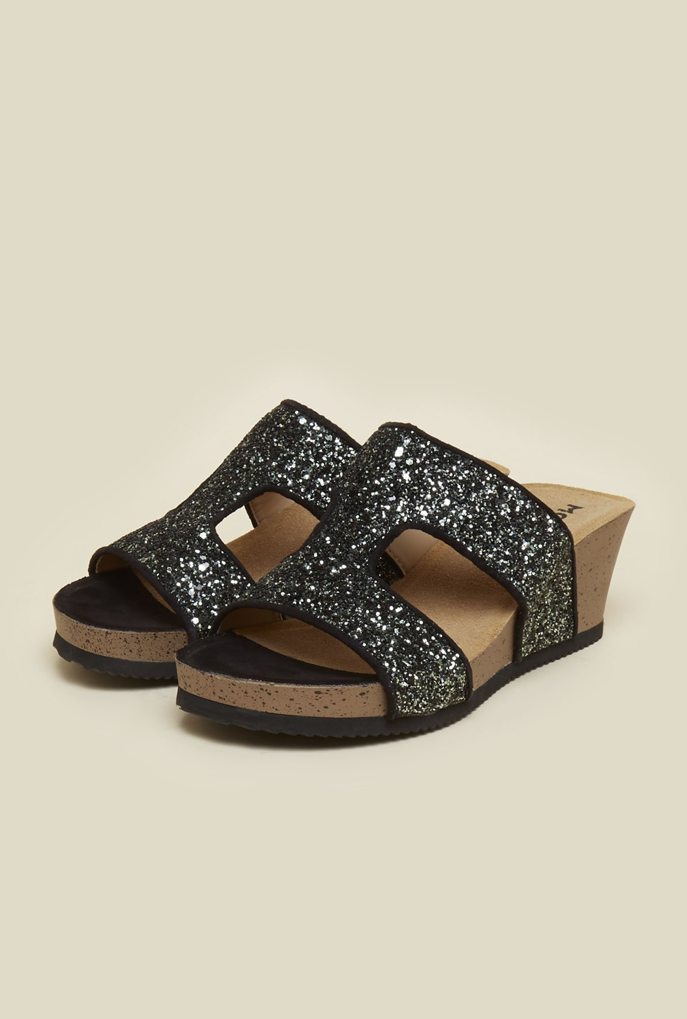 Mochi Black Wedge Sandals