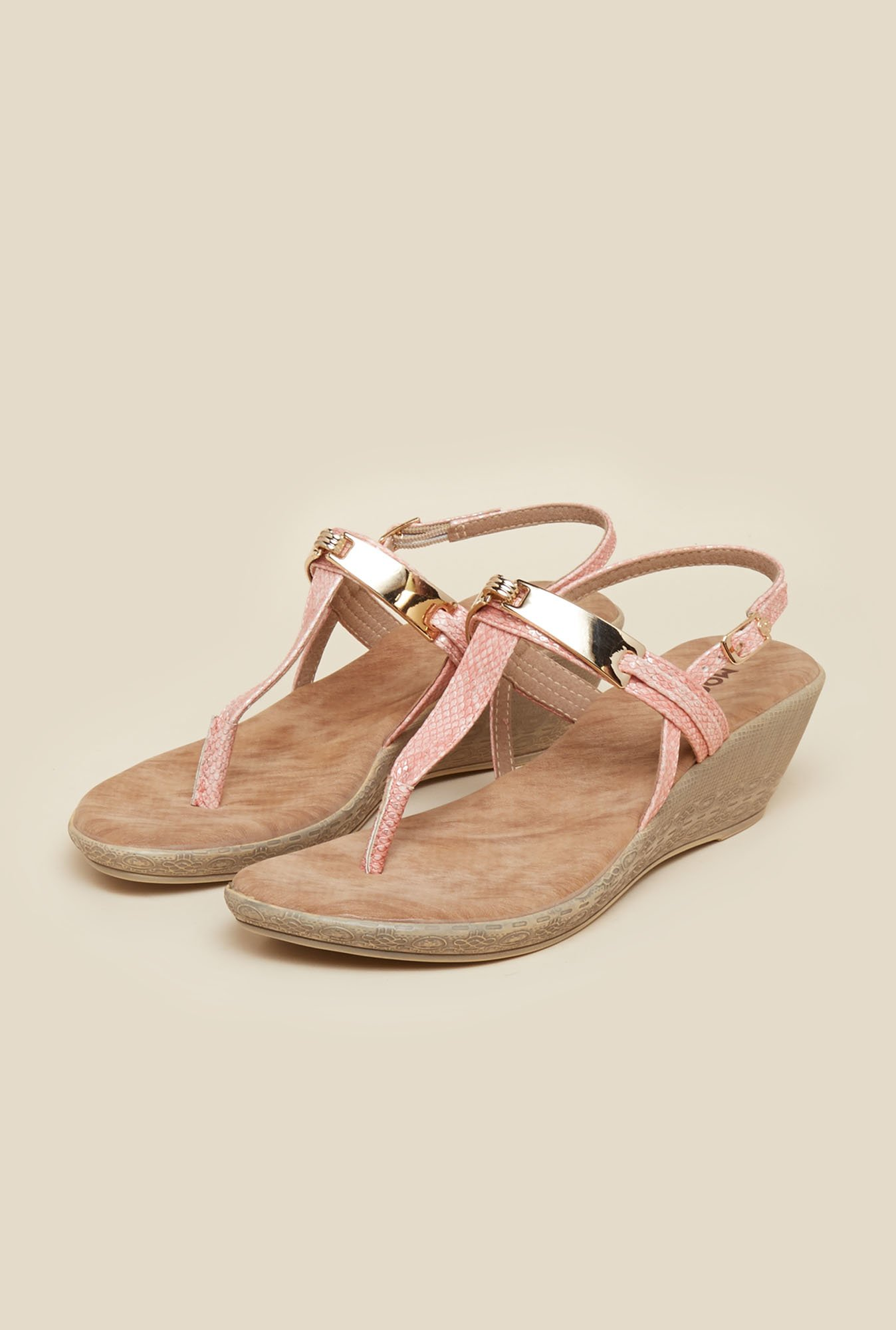 Mochi Peach Wedge Heel Sandals