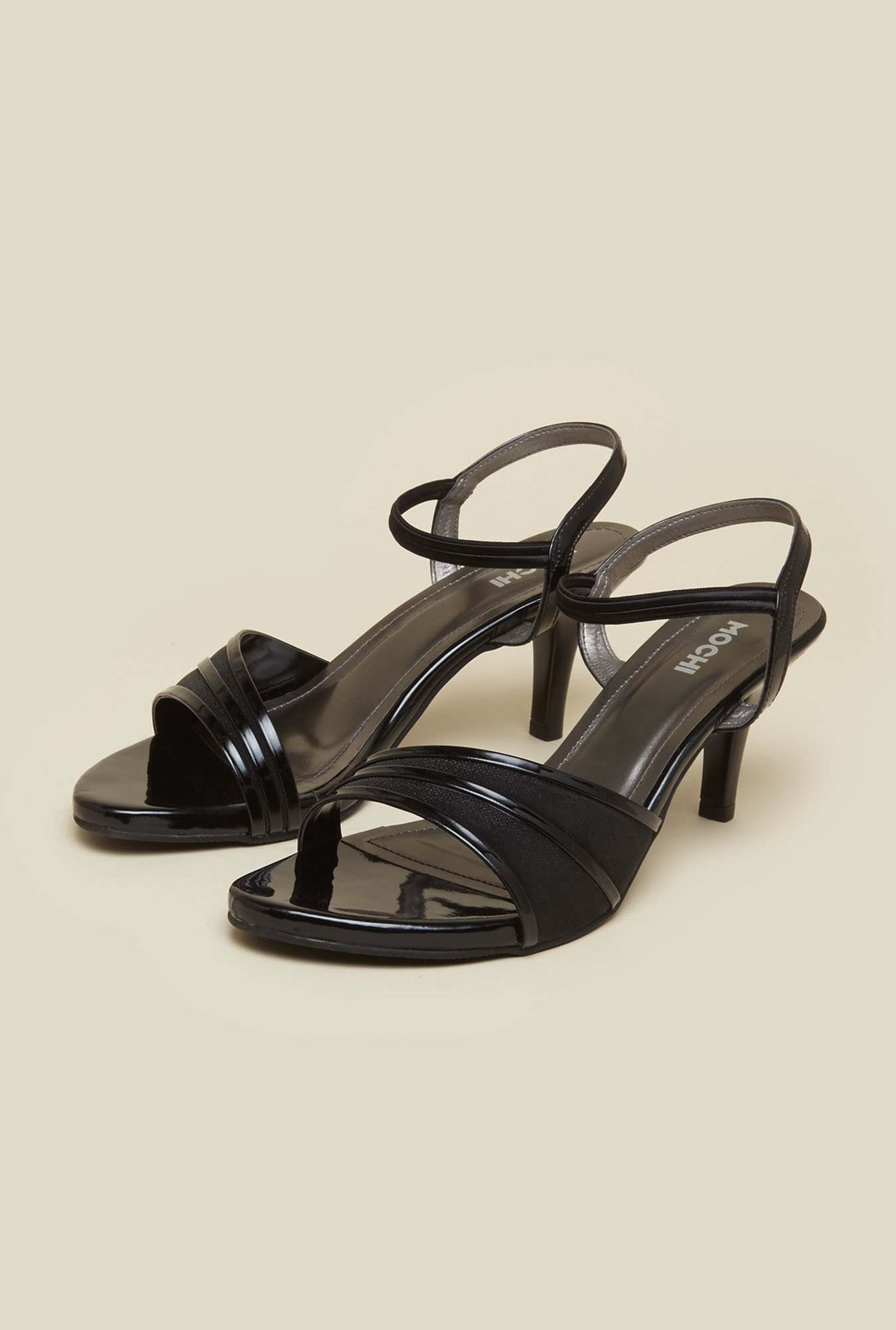 Mochi Black Ankle Strap Stilettos