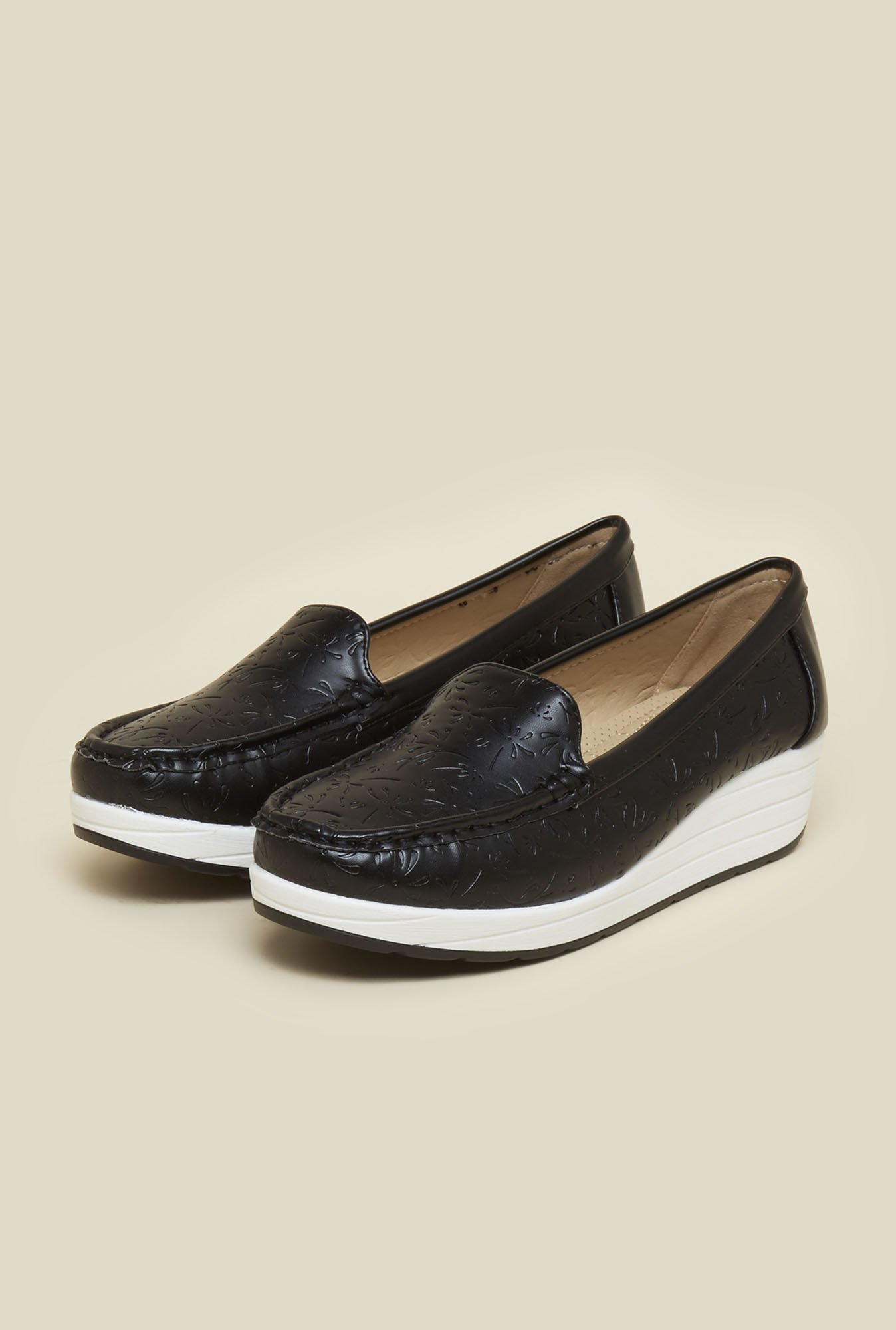 Mochi Black Wedge Heel Loafers